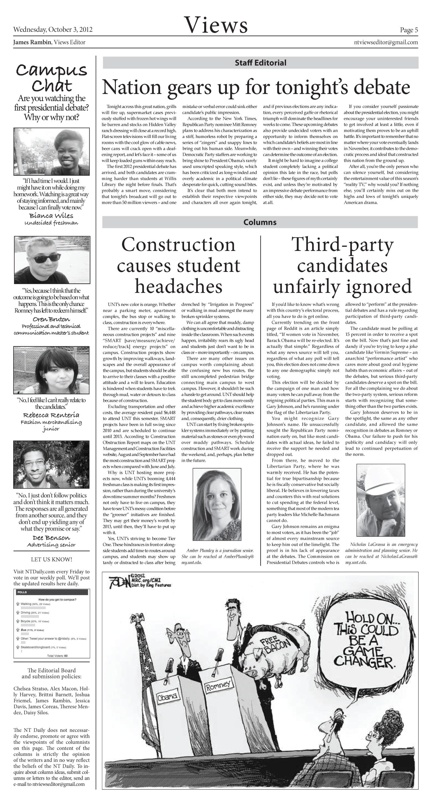 North Texas Daily (Denton, Tex.), Vol. 100, No. 16, Ed. 1 Wednesday, October 3, 2012                                                                                                      [Sequence #]: 5 of 6