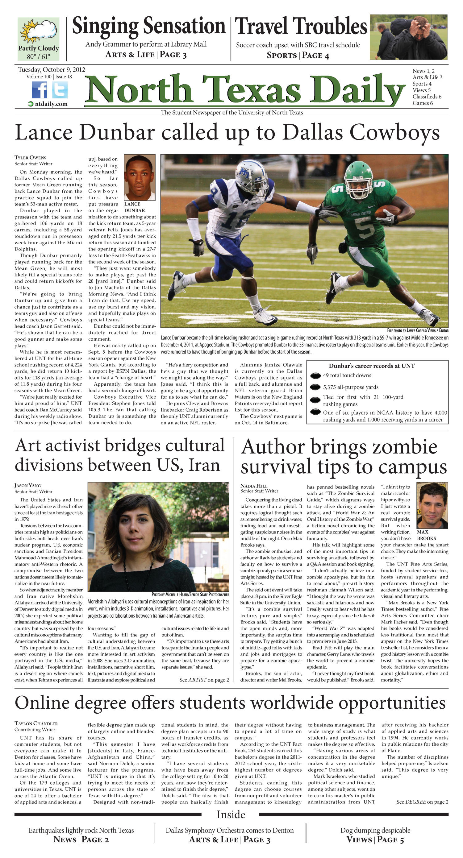 North Texas Daily (Denton, Tex.), Vol. 100, No. 18, Ed. 1 Tuesday, October 9, 2012                                                                                                      [Sequence #]: 1 of 6