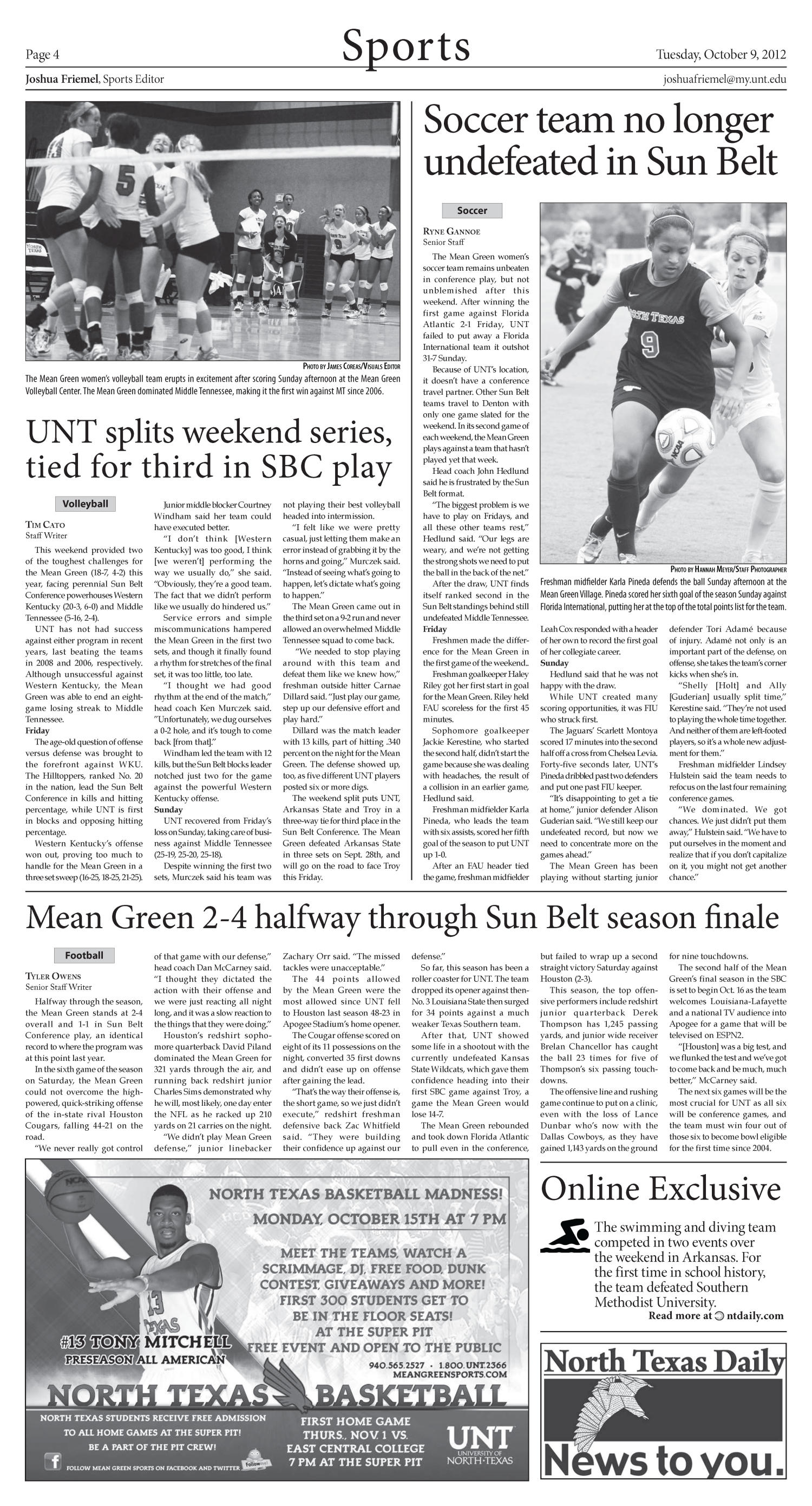 North Texas Daily (Denton, Tex.), Vol. 100, No. 18, Ed. 1 Tuesday, October 9, 2012                                                                                                      [Sequence #]: 4 of 6