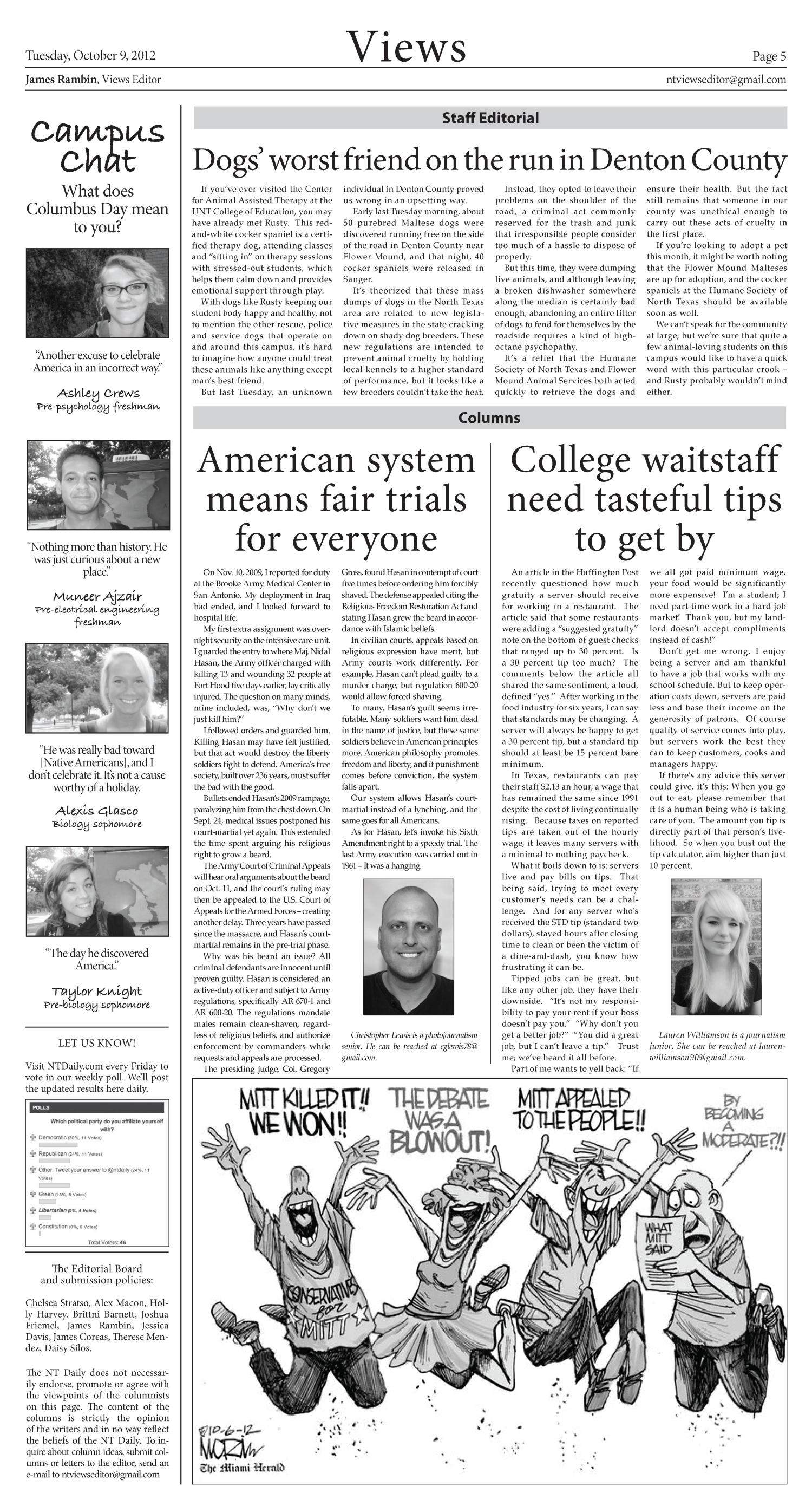 North Texas Daily (Denton, Tex.), Vol. 100, No. 18, Ed. 1 Tuesday, October 9, 2012                                                                                                      [Sequence #]: 5 of 6