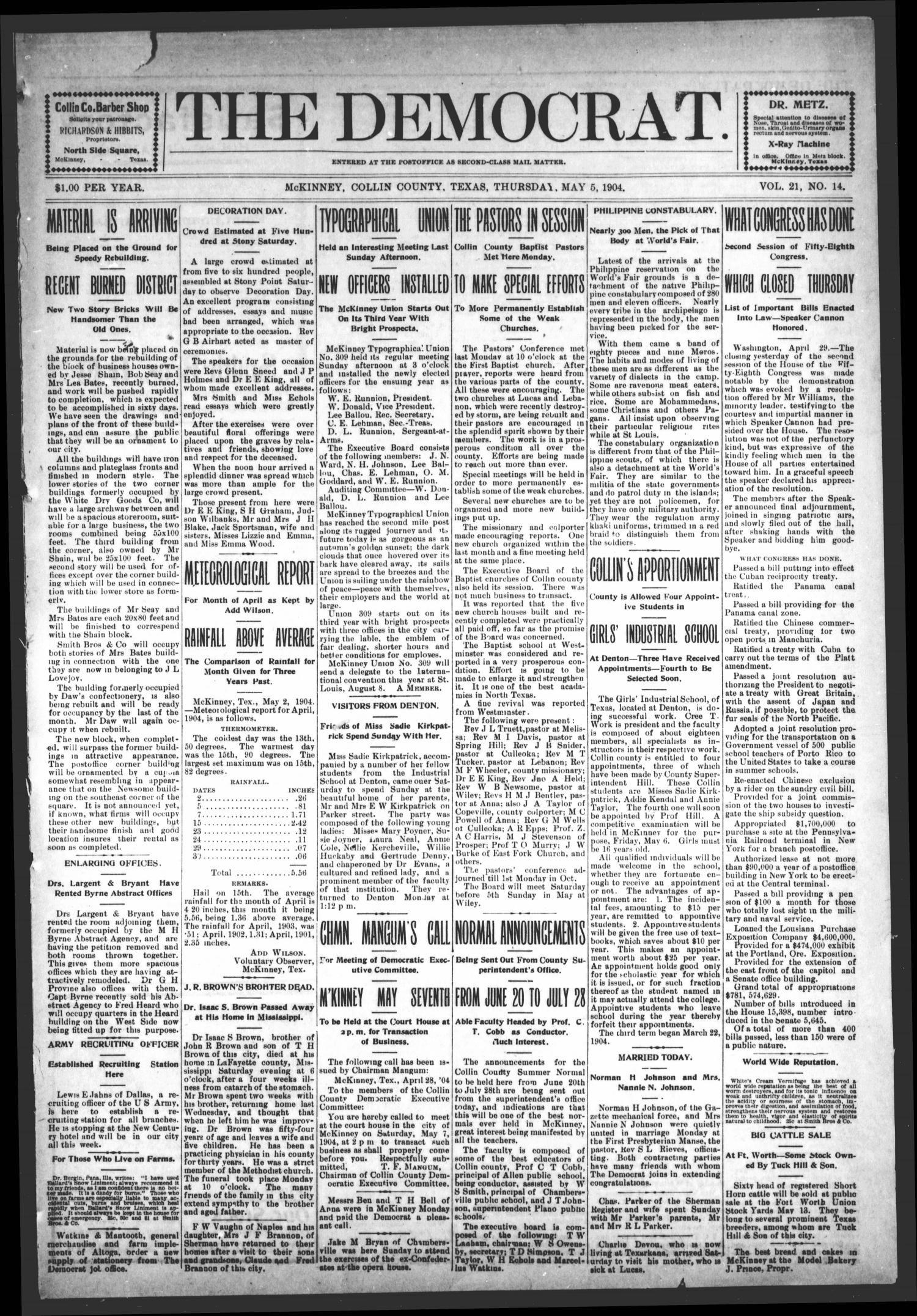 The Democrat (McKinney, Tex.), Vol. 21, No. 14, Ed. 1 Thursday, May 5, 1904                                                                                                      [Sequence #]: 1 of 8