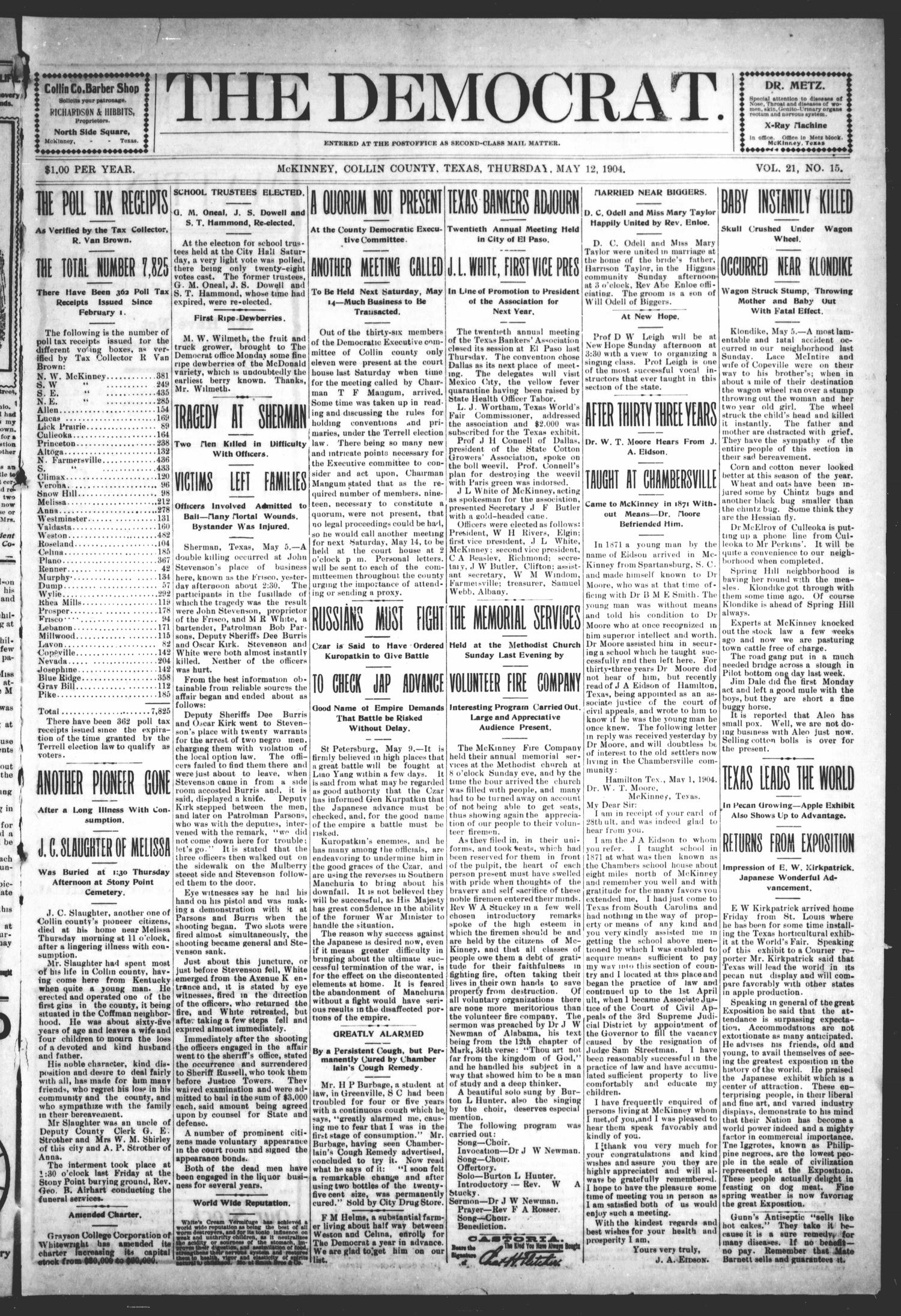 The Democrat (McKinney, Tex.), Vol. 21, No. 15, Ed. 1 Thursday, May 12, 1904                                                                                                      [Sequence #]: 1 of 8
