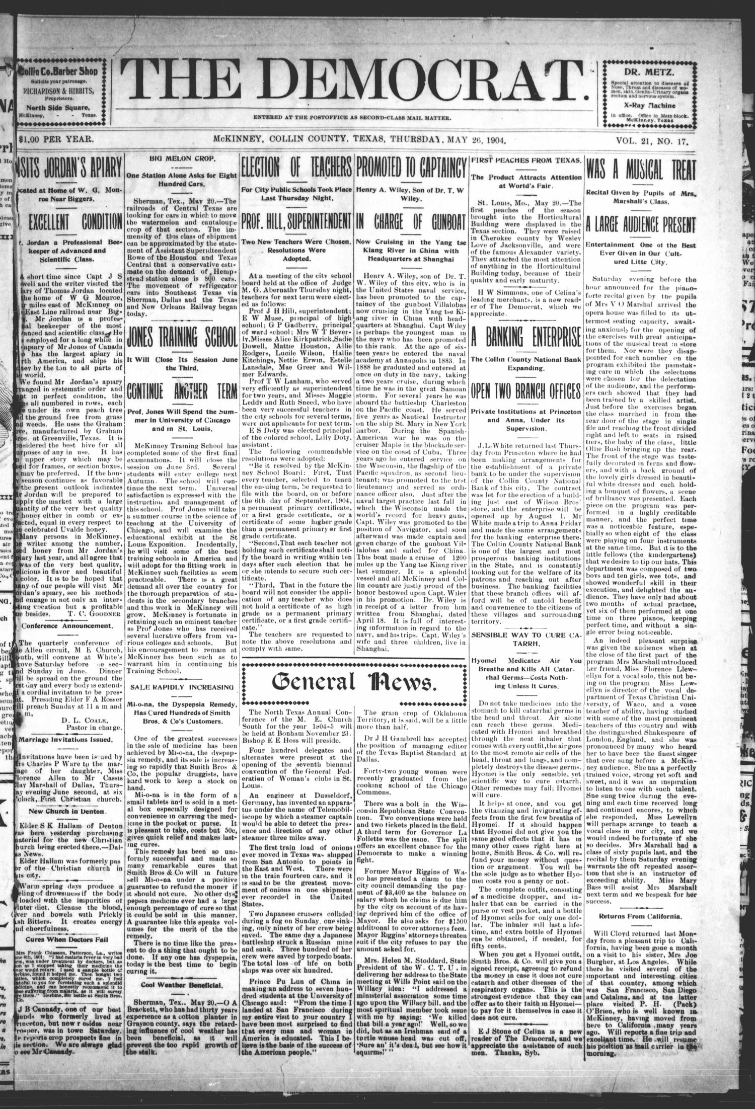 The Democrat (McKinney, Tex.), Vol. 21, No. 17, Ed. 1 Thursday, May 26, 1904                                                                                                      [Sequence #]: 1 of 10