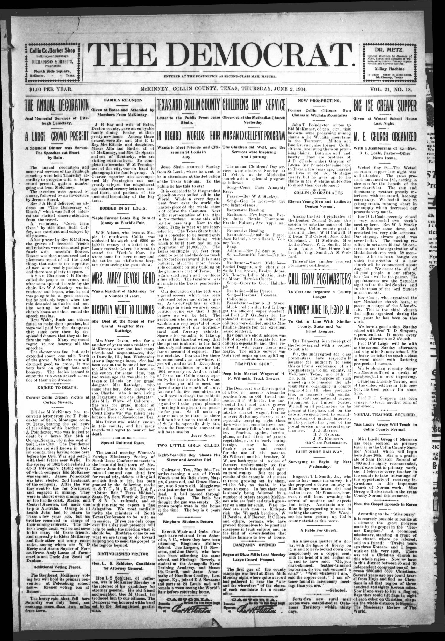 The Democrat (McKinney, Tex.), Vol. 21, No. 18, Ed. 1 Thursday, June 2, 1904                                                                                                      [Sequence #]: 1 of 10