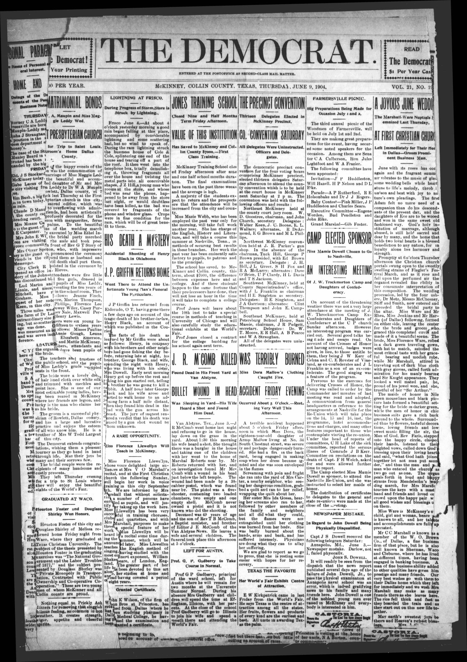 The Democrat (McKinney, Tex.), Vol. 21, No. 19, Ed. 1 Thursday, June 9, 1904                                                                                                      [Sequence #]: 1 of 8