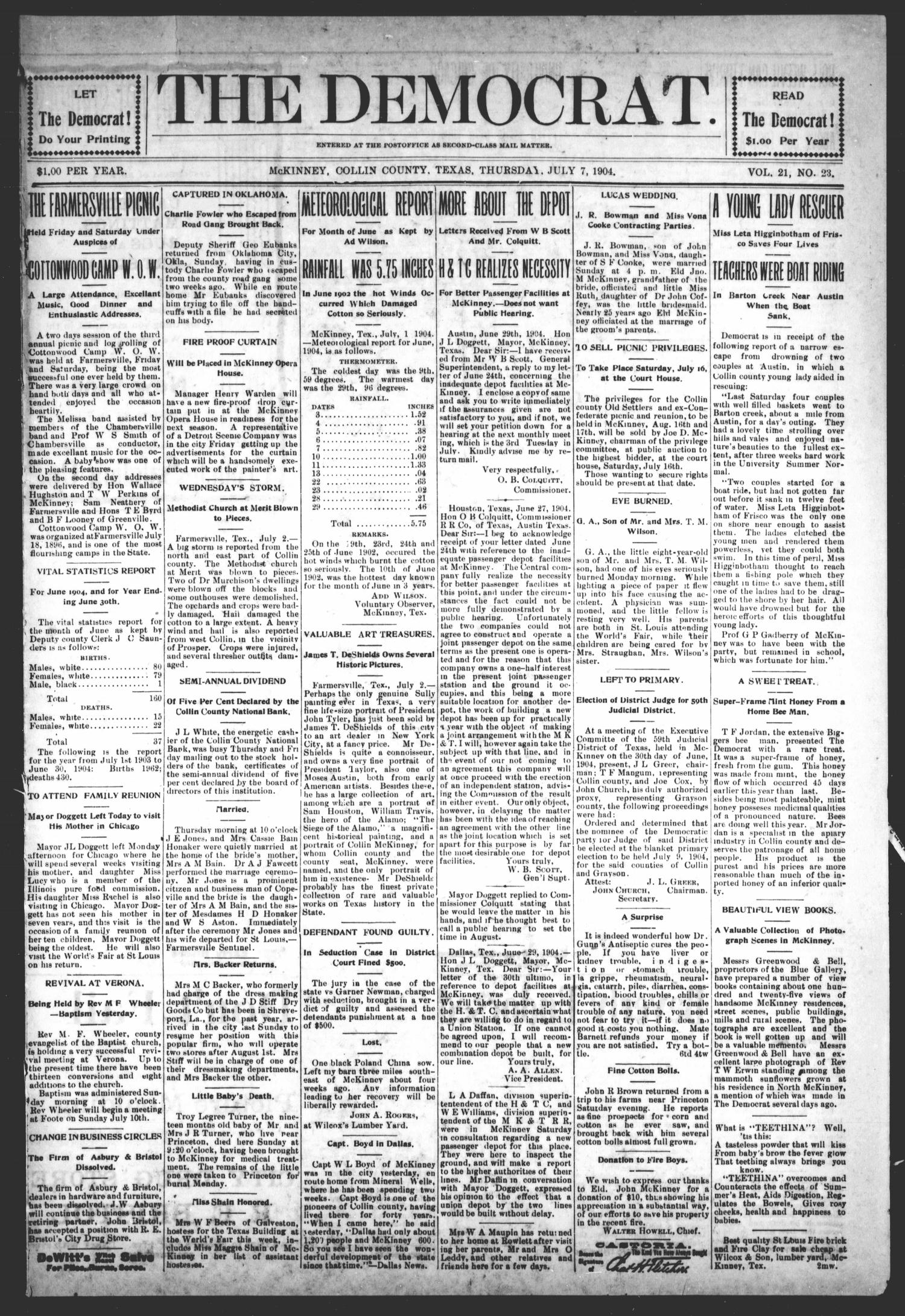 The Democrat (McKinney, Tex.), Vol. 21, No. 23, Ed. 1 Thursday, July 7, 1904                                                                                                      [Sequence #]: 1 of 8