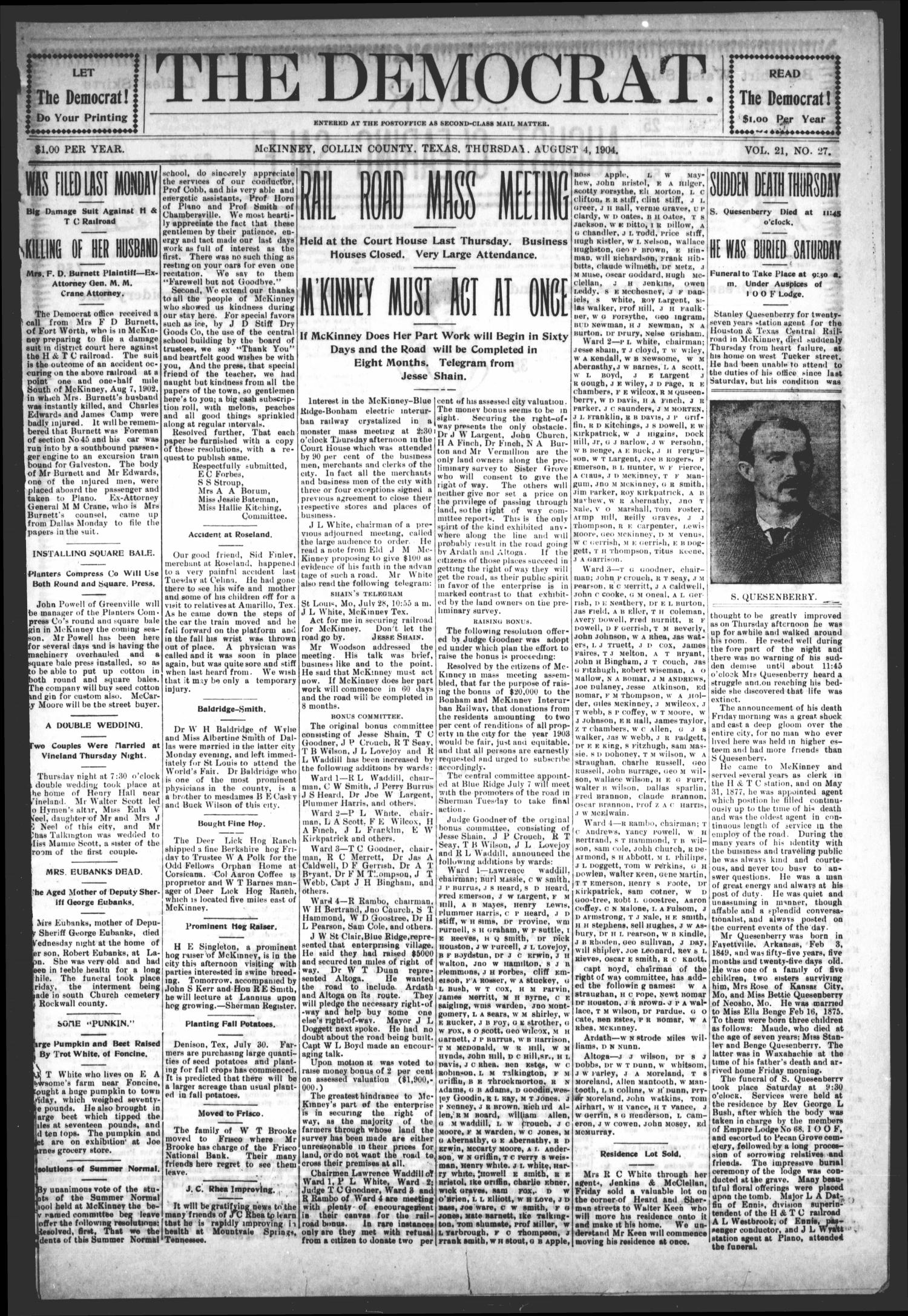 The Democrat (McKinney, Tex.), Vol. 21, No. 27, Ed. 1 Thursday, August 4, 1904                                                                                                      [Sequence #]: 1 of 12