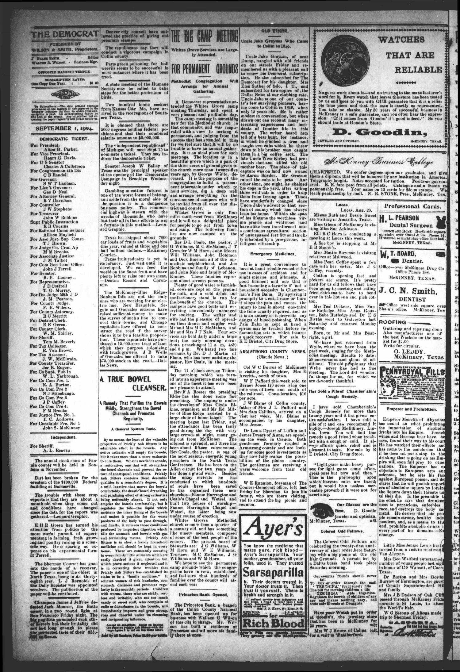 The Democrat (McKinney, Tex.), Vol. 21, No. 31, Ed. 1 Thursday, September 1, 1904                                                                                                      [Sequence #]: 4 of 10