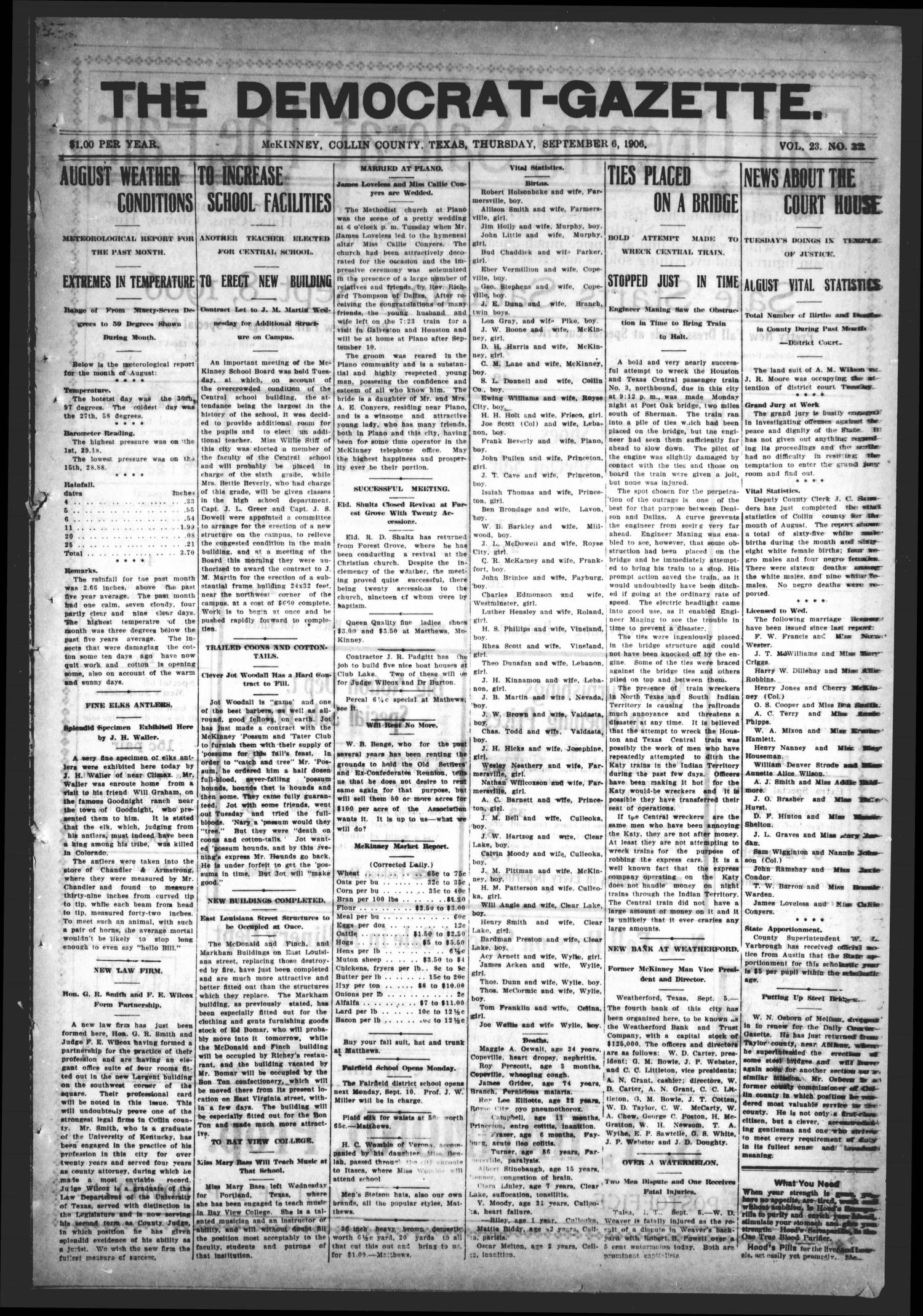 The Democrat-Gazette (McKinney, Tex.), Vol. 23, No. 32, Ed. 1 Thursday, September 6, 1906                                                                                                      [Sequence #]: 1 of 12