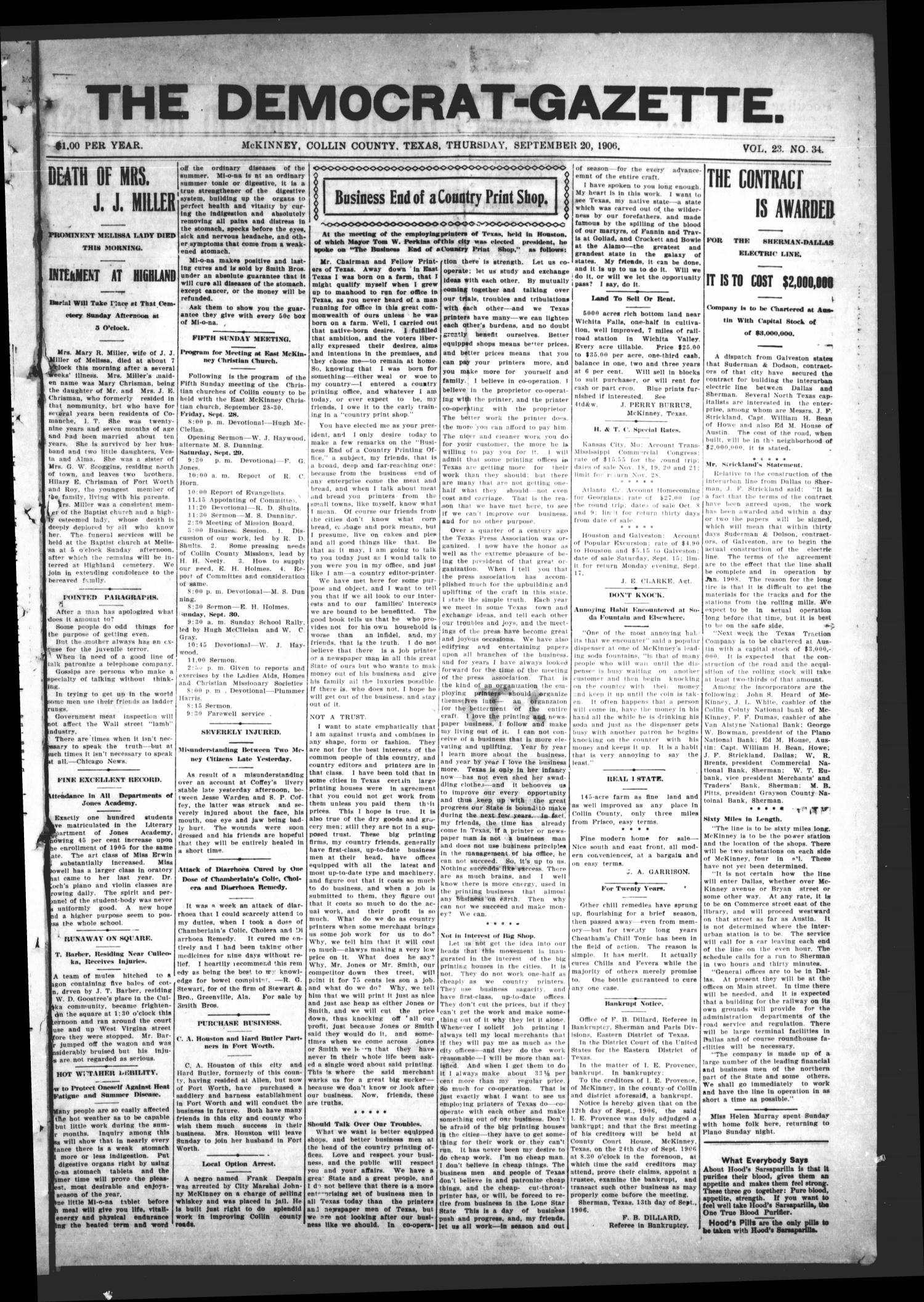 The Democrat-Gazette (McKinney, Tex.), Vol. 23, No. 34, Ed. 1 Thursday, September 20, 1906                                                                                                      [Sequence #]: 1 of 16