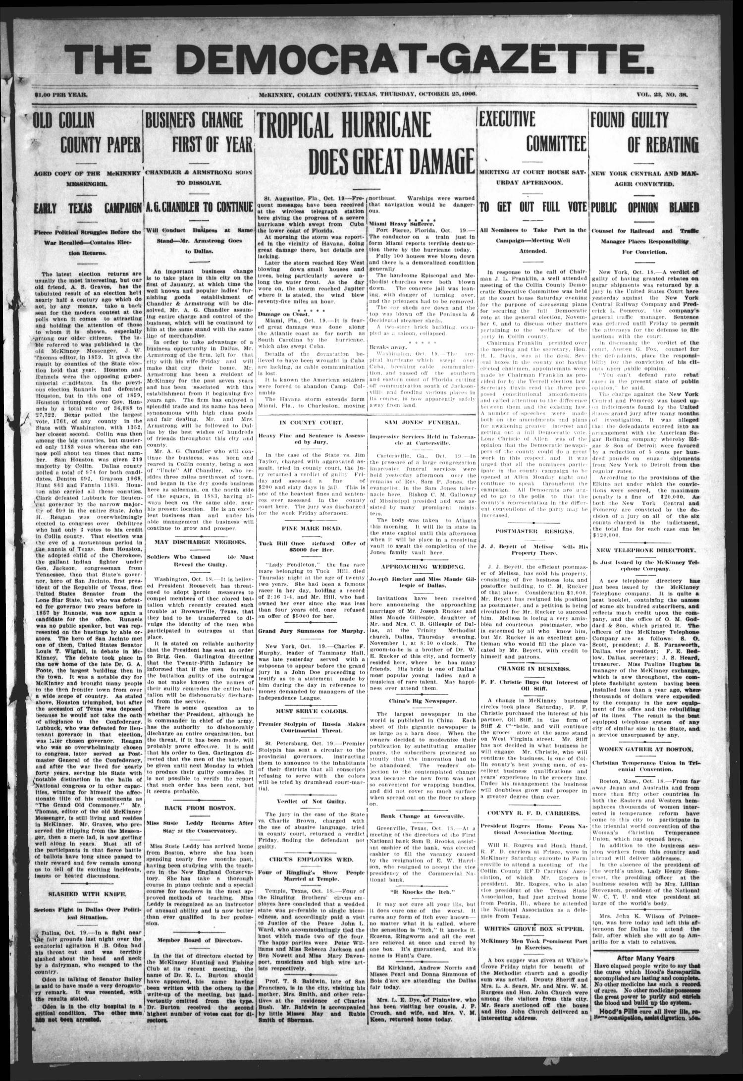 The Democrat-Gazette (McKinney, Tex.), Vol. 23, No. 38, Ed. 1 Thursday, October 25, 1906                                                                                                      [Sequence #]: 1 of 12
