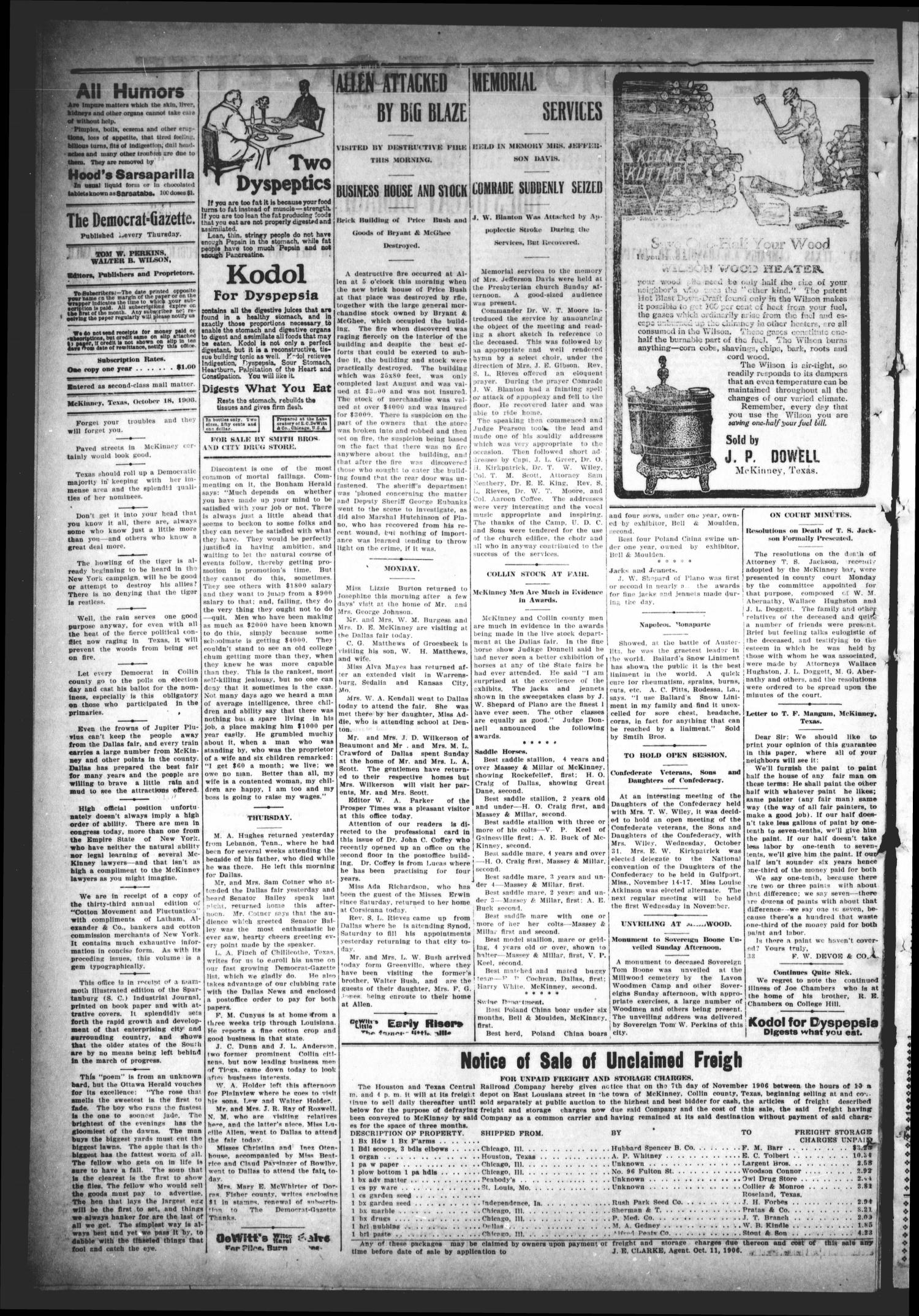 The Democrat-Gazette (McKinney, Tex.), Vol. 23, No. 38, Ed. 1 Thursday, October 25, 1906                                                                                                      [Sequence #]: 2 of 12