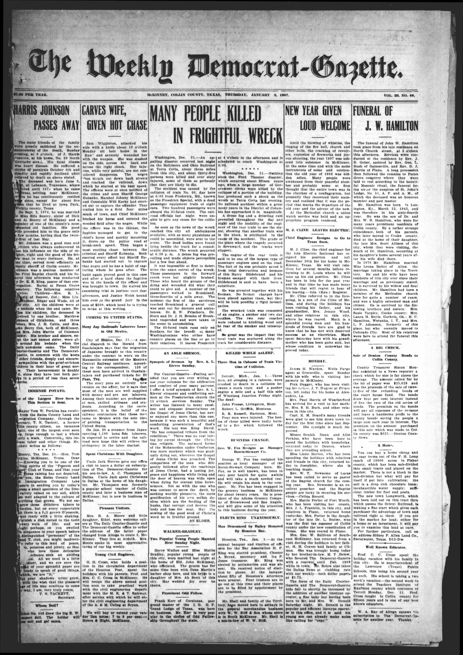 The Weekly Democrat-Gazette (McKinney, Tex.), Vol. 23, No. 48, Ed. 1 Thursday, January 3, 1907                                                                                                      [Sequence #]: 1 of 14