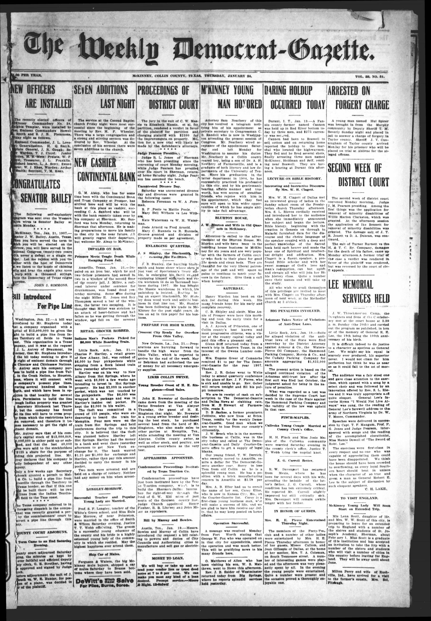 The Weekly Democrat-Gazette (McKinney, Tex.), Vol. 23, No. 51, Ed. 1 Thursday, January 24, 1907                                                                                                      [Sequence #]: 1 of 12