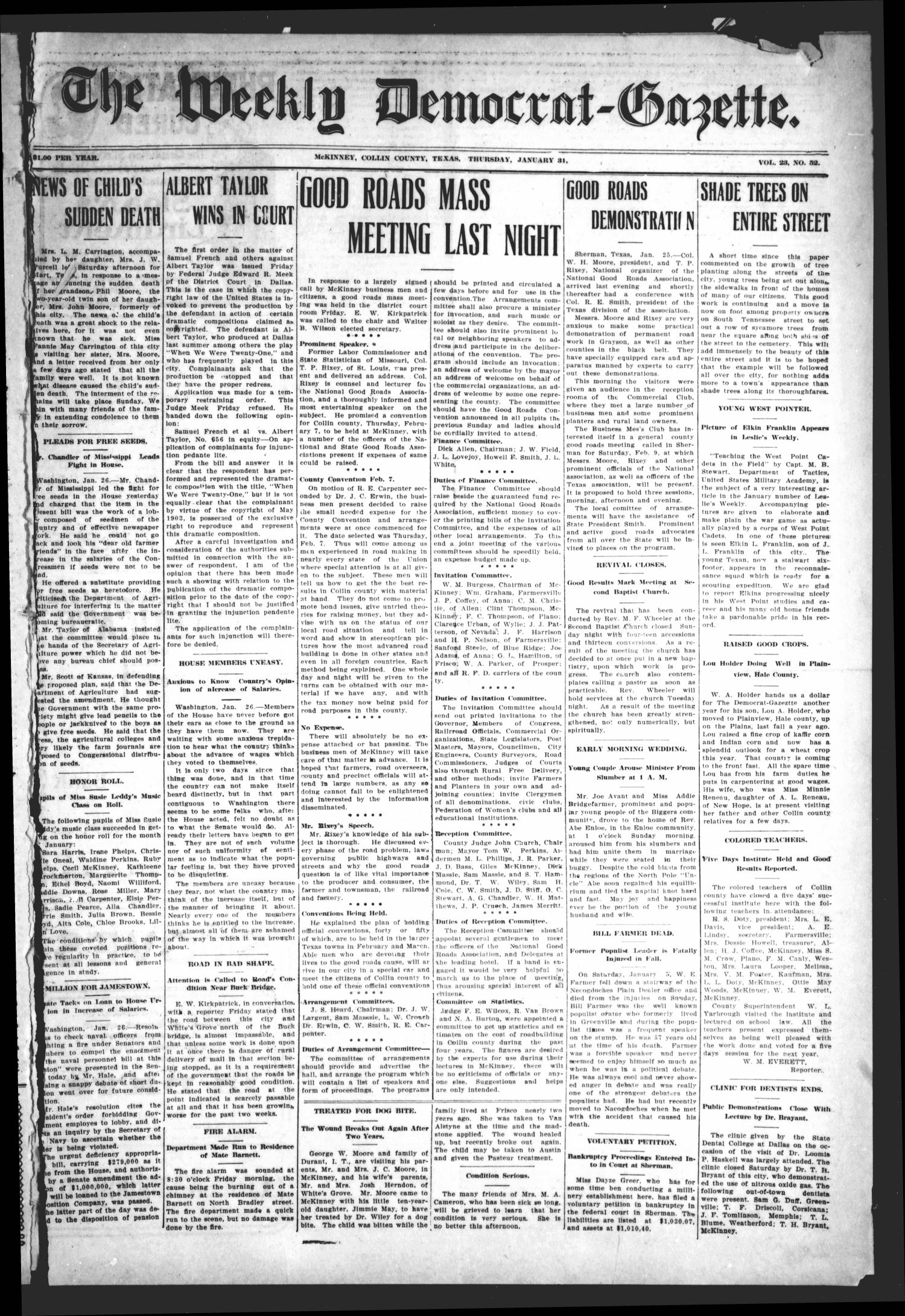 The Weekly Democrat-Gazette (McKinney, Tex.), Vol. 23, No. 52, Ed. 1 Thursday, January 31, 1907                                                                                                      [Sequence #]: 1 of 12