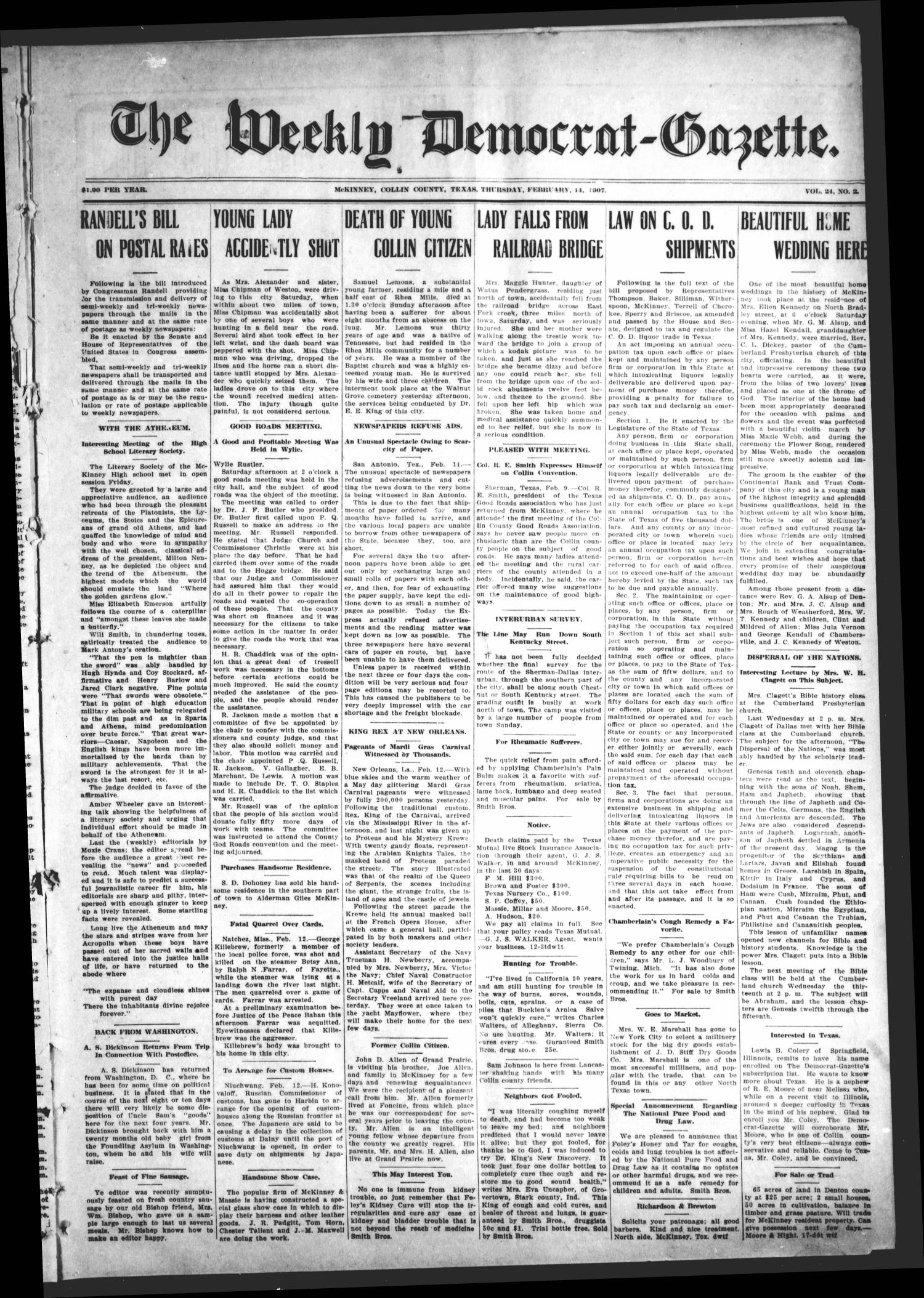 The Weekly Democrat-Gazette (McKinney, Tex.), Vol. 24, No. 2, Ed. 1 Thursday, February 14, 1907                                                                                                      [Sequence #]: 1 of 12