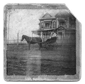 Primary view of object titled '[Lois and Lelia Broyles Near Broyles House]'.