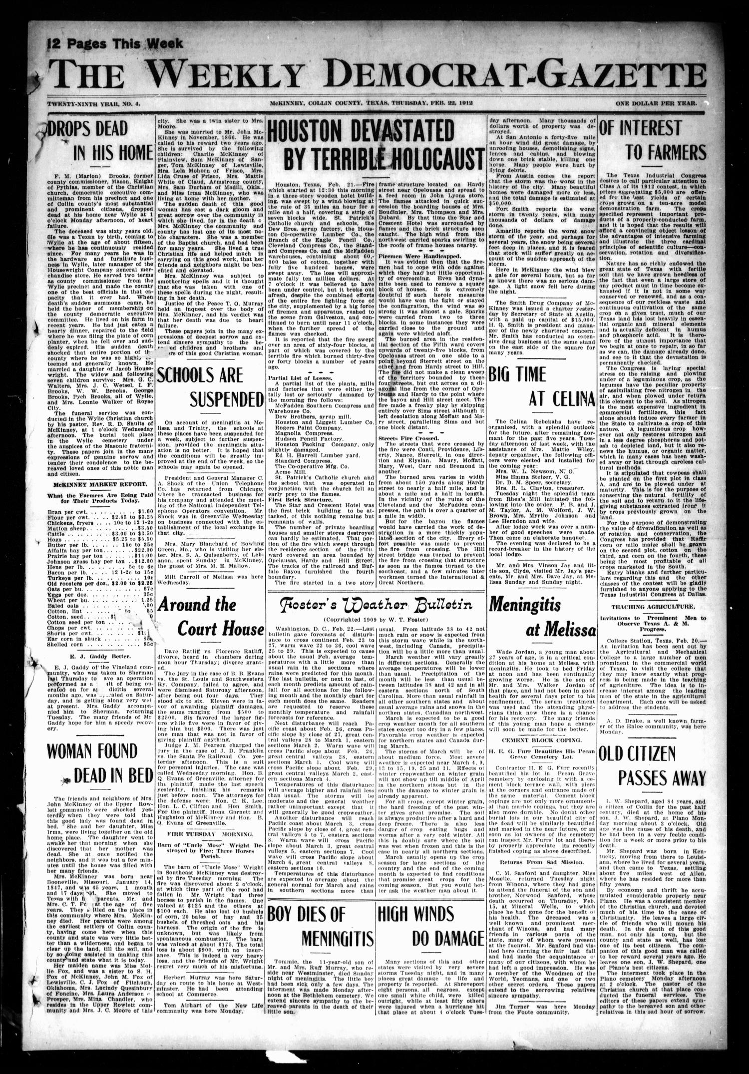 The Weekly Democrat-Gazette (McKinney, Tex.), Vol. 29, No. 4, Ed. 1 Thursday, February 22, 1912                                                                                                      [Sequence #]: 1 of 12