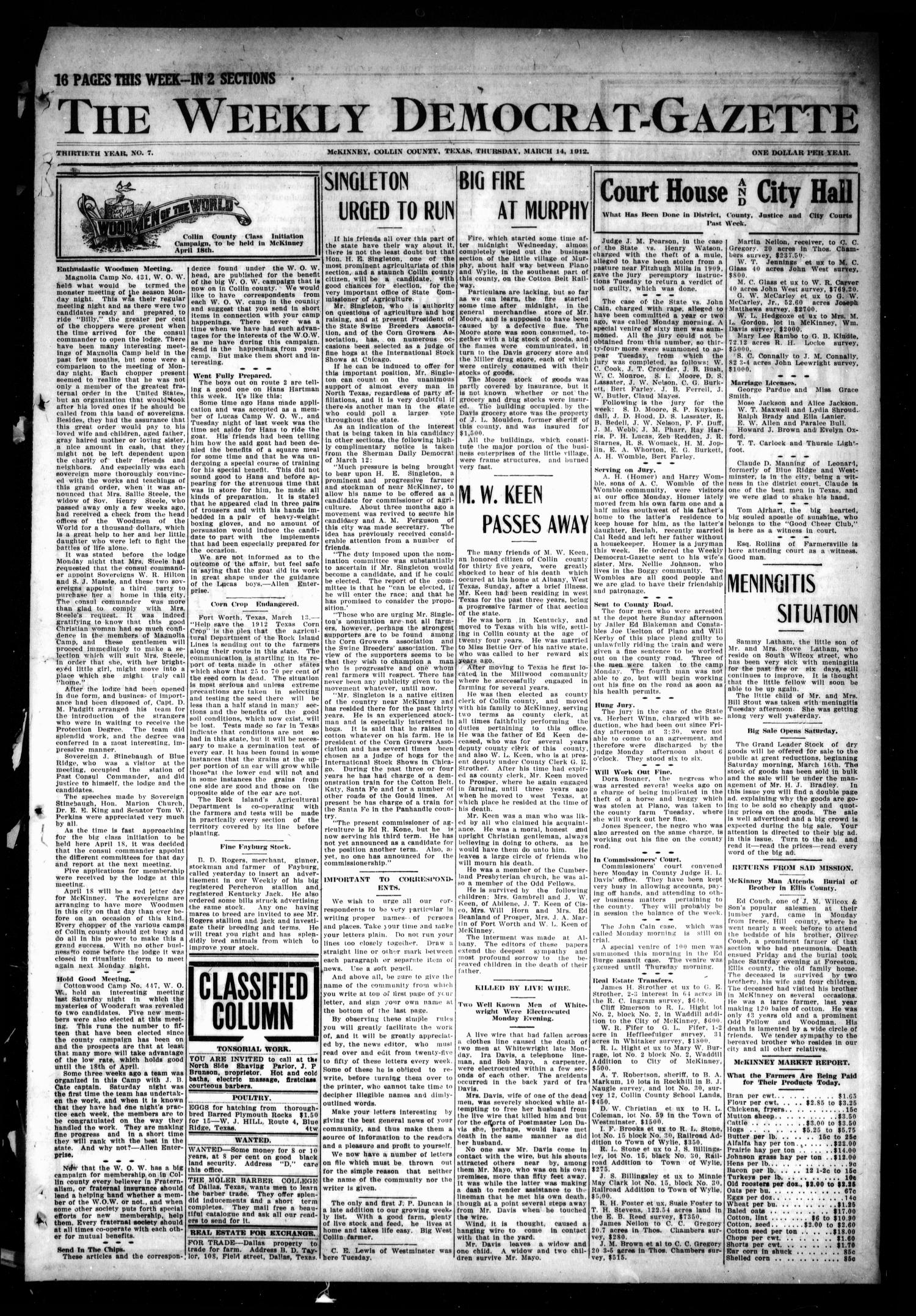 The Weekly Democrat-Gazette (McKinney, Tex.), Vol. 30, No. 7, Ed. 1 Thursday, March 14, 1912                                                                                                      [Sequence #]: 1 of 16