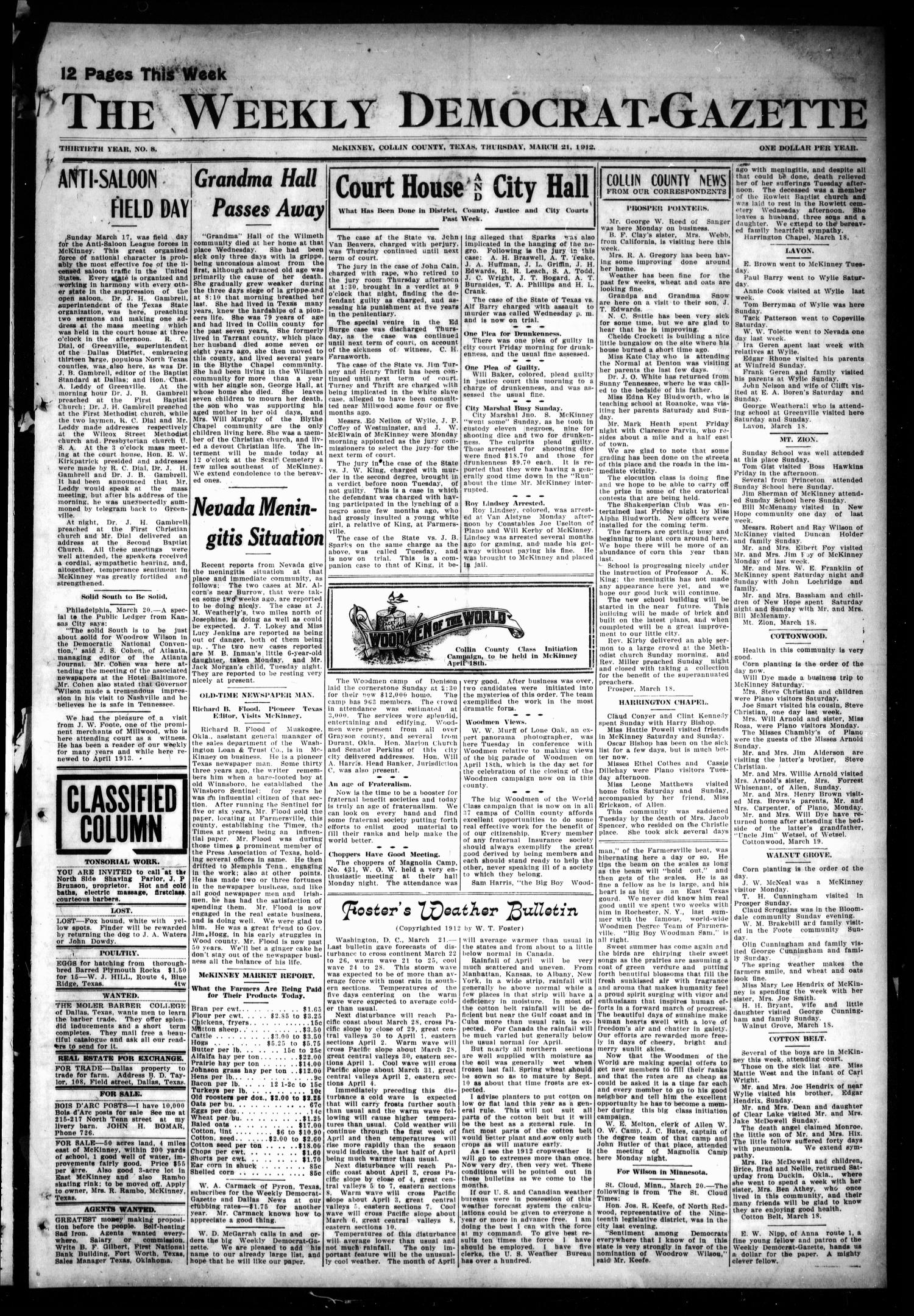 The Weekly Democrat-Gazette (McKinney, Tex.), Vol. 30, No. 8, Ed. 1 Thursday, March 21, 1912                                                                                                      [Sequence #]: 1 of 12