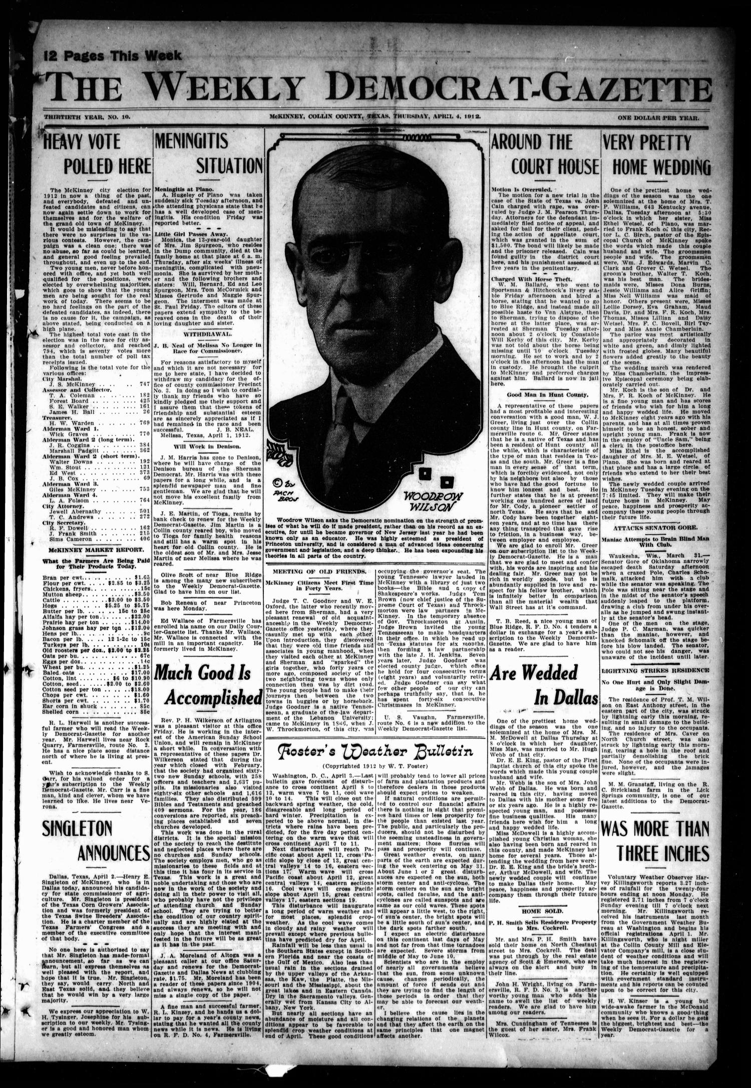 The Weekly Democrat-Gazette (McKinney, Tex.), Vol. 30, No. 10, Ed. 1 Thursday, April 4, 1912                                                                                                      [Sequence #]: 1 of 12