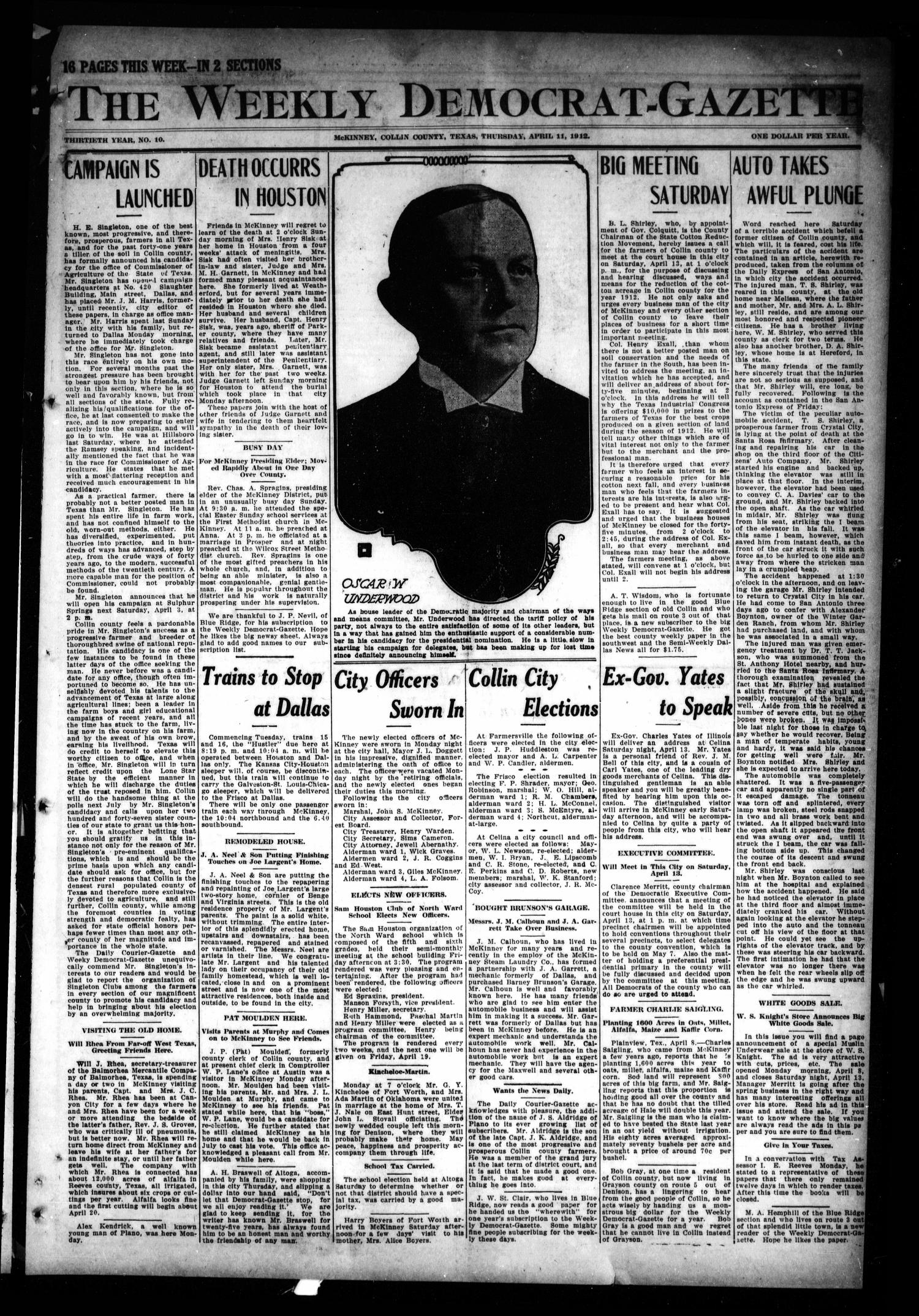 The Weekly Democrat-Gazette (McKinney, Tex.), Vol. 30, No. 10, Ed. 1 Thursday, April 11, 1912                                                                                                      [Sequence #]: 1 of 16