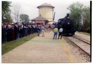 Primary view of object titled '[Gov. Rick Perry Visits Texas State Railroad]'.