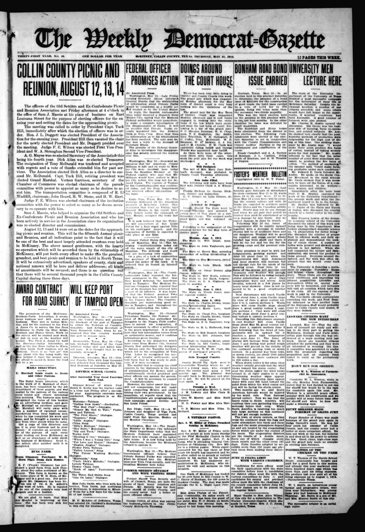 The Weekly Democrat-Gazette (McKinney, Tex.), Vol. 31, No. 16, Ed. 1 Thursday, May 21, 1914                                                                                                      [Sequence #]: 1 of 12