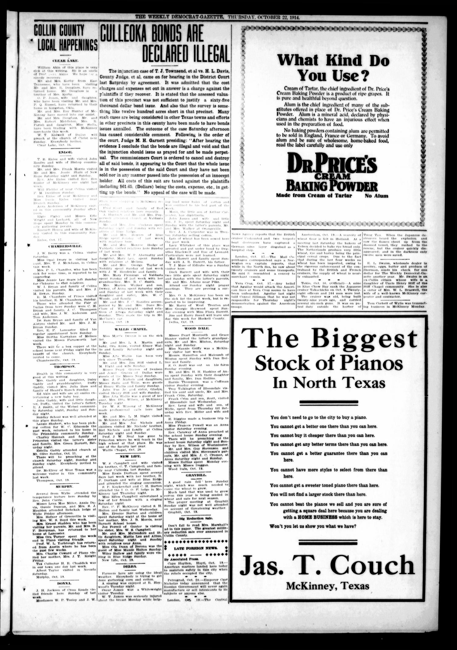 The Weekly Democrat-Gazette (McKinney, Tex.), Vol. 31, No. 37, Ed. 1 Thursday, October 22, 1914                                                                                                      [Sequence #]: 3 of 12