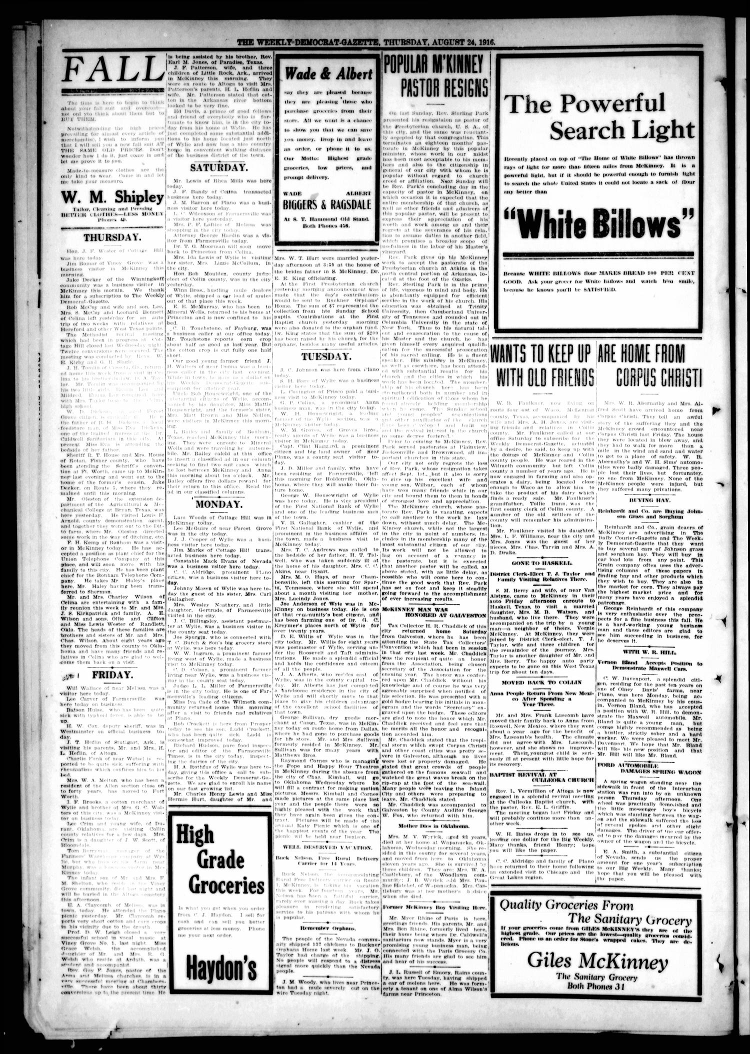The Weekly Democrat-Gazette (McKinney, Tex.), Vol. 33, Ed. 1 Thursday, August 24, 1916                                                                                                      [Sequence #]: 4 of 12