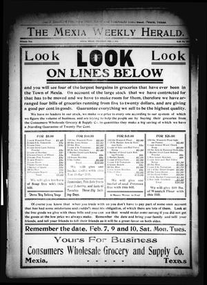 Primary view of object titled 'The Mexia Weekly Herald. (Mexia, Tex.), Vol. 15, Ed. 1 Thursday, February 5, 1914'.