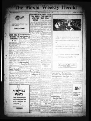 Primary view of object titled 'The Mexia Weekly Herald (Mexia, Tex.), Vol. 27, No. 1, Ed. 1 Thursday, January 1, 1925'.