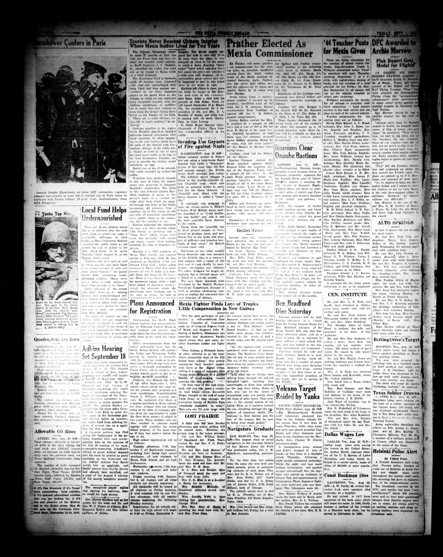 The Mexia Weekly Herald (Mexia, Tex.), Vol. 66, No. [35], Ed. 1 Friday, September 1, 1944                                                                                                      [Sequence #]: 4 of 6