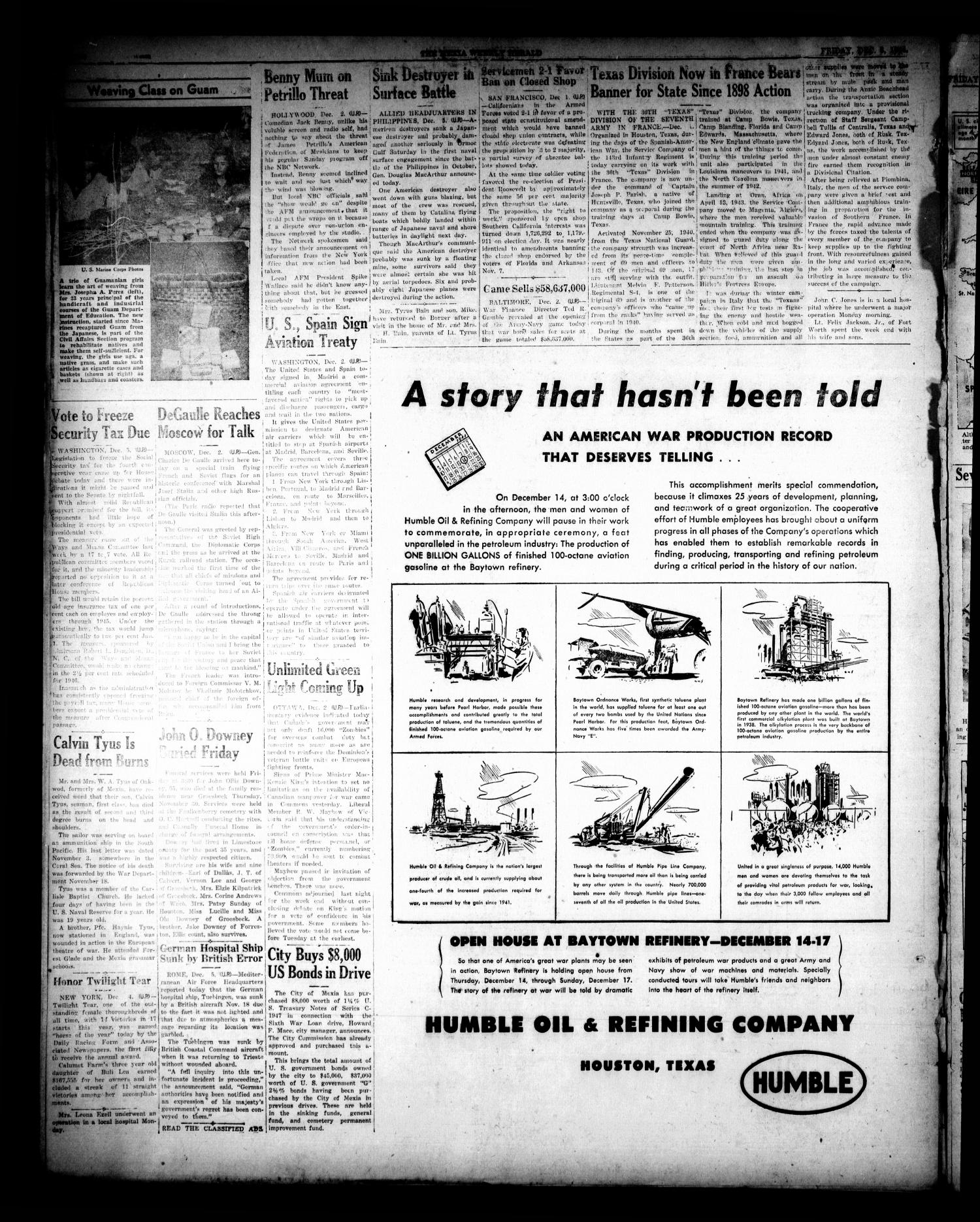 The Mexia Weekly Herald (Mexia, Tex.), Vol. 66, No. [49], Ed. 1 Friday, December 8, 1944                                                                                                      [Sequence #]: 4 of 6