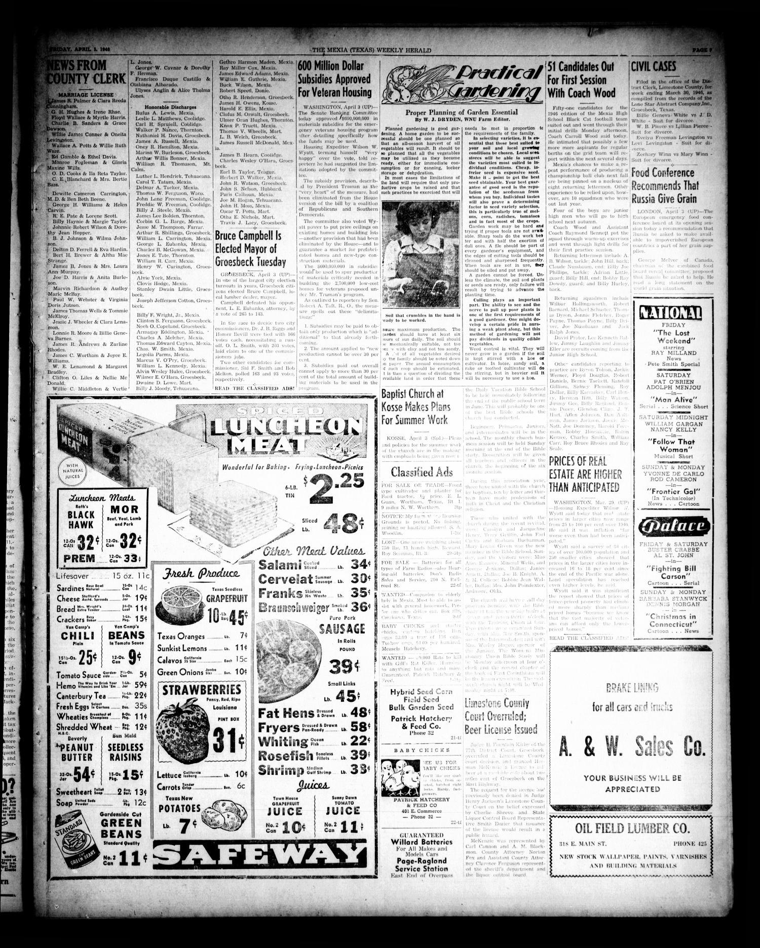 The Mexia Weekly Herald (Mexia, Tex.), Vol. 68, No. 14, Ed. 1 Friday ...