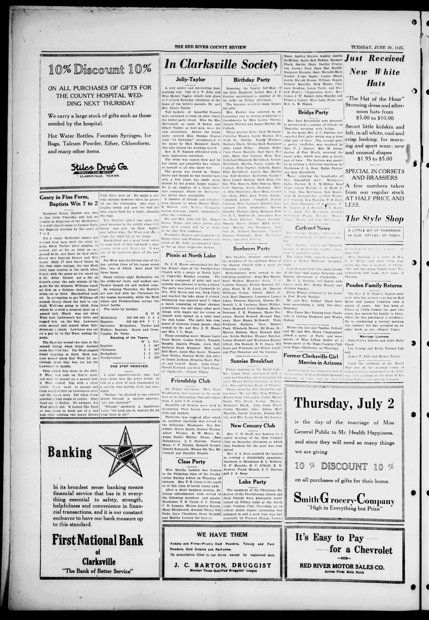 Red River County Review (Clarksville, Tex.), Vol. 5, No. 10, Ed. 1 Tuesday, June 30, 1925                                                                                                      [Sequence #]: 4 of 4