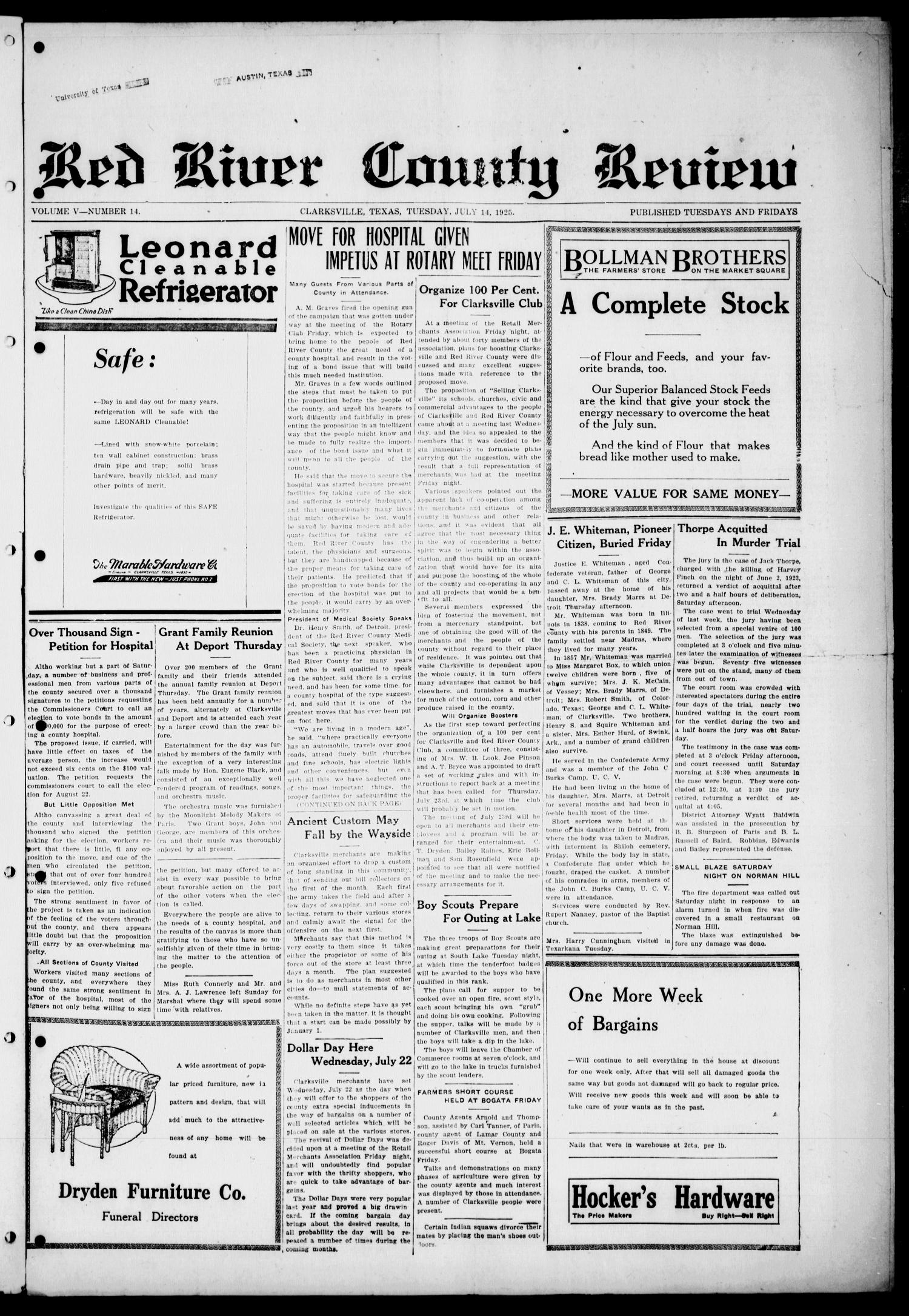 Red River County Review (Clarksville, Tex.), Vol. 5, No. 14, Ed. 1 Tuesday, July 14, 1925                                                                                                      [Sequence #]: 1 of 4