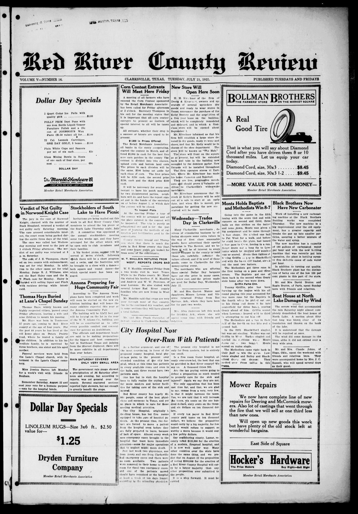Red River County Review (Clarksville, Tex.), Vol. 5, No. 16, Ed. 1 Tuesday, July 21, 1925                                                                                                      [Sequence #]: 1 of 4