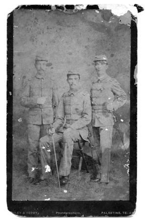 Primary view of object titled '[Three Members of the Dilley Rifles Company]'.
