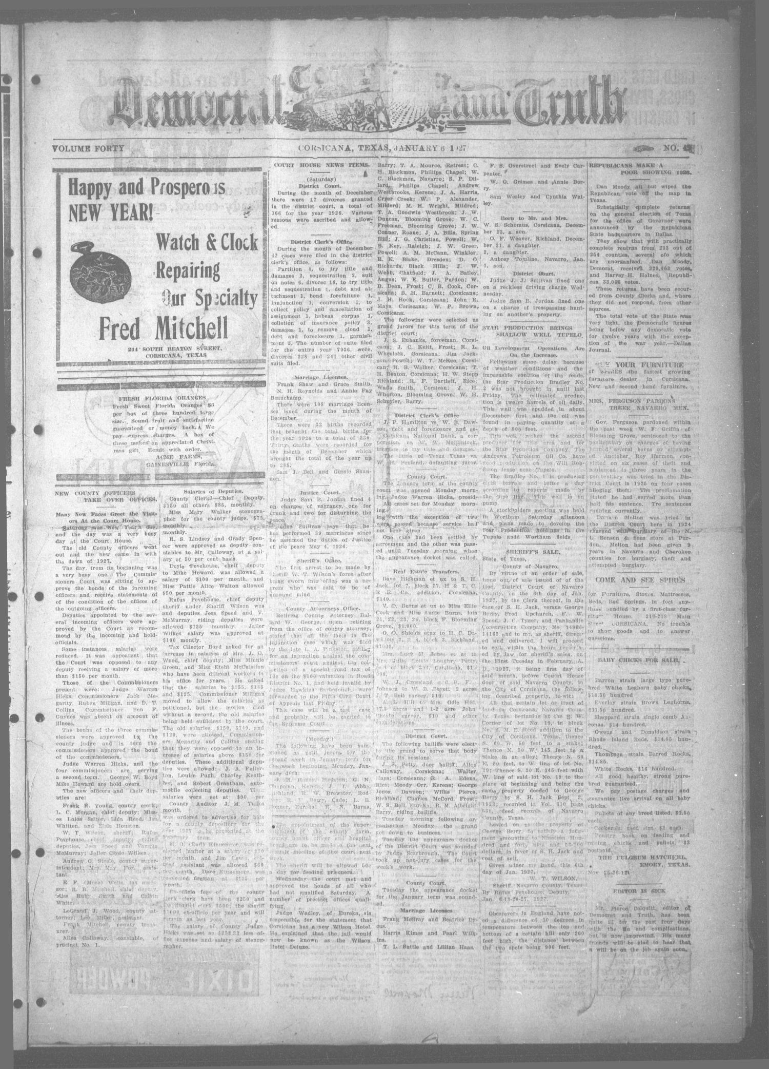 Corsicana Democrat and Truth (Corsicana, Tex.), Vol. 40, No. 45, Ed. 1 Thursday, January 6, 1927                                                                                                      [Sequence #]: 1 of 8