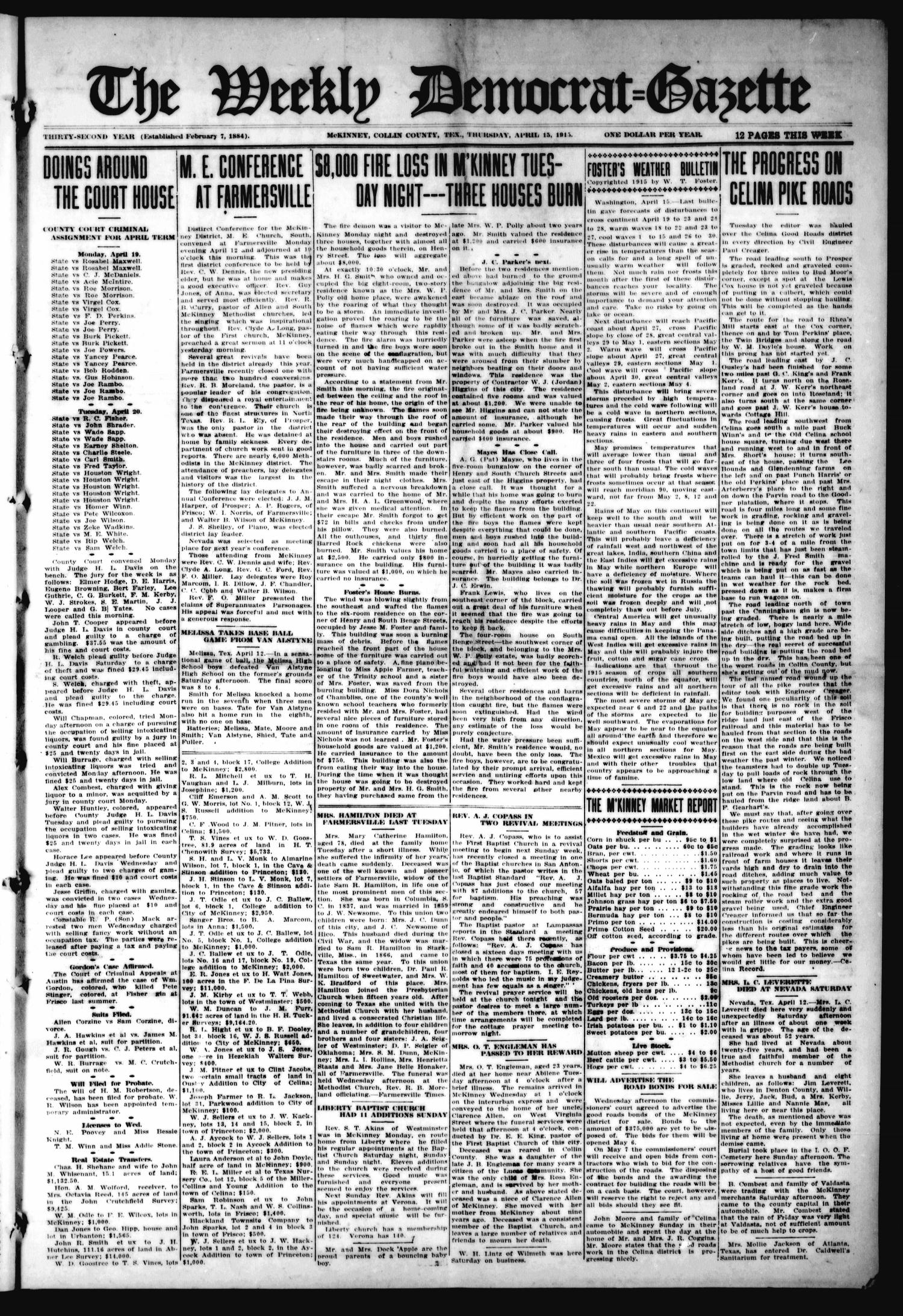 The Weekly Democrat-Gazette (McKinney, Tex.), Vol. 32, Ed. 1 Thursday, April 15, 1915                                                                                                      [Sequence #]: 1 of 12