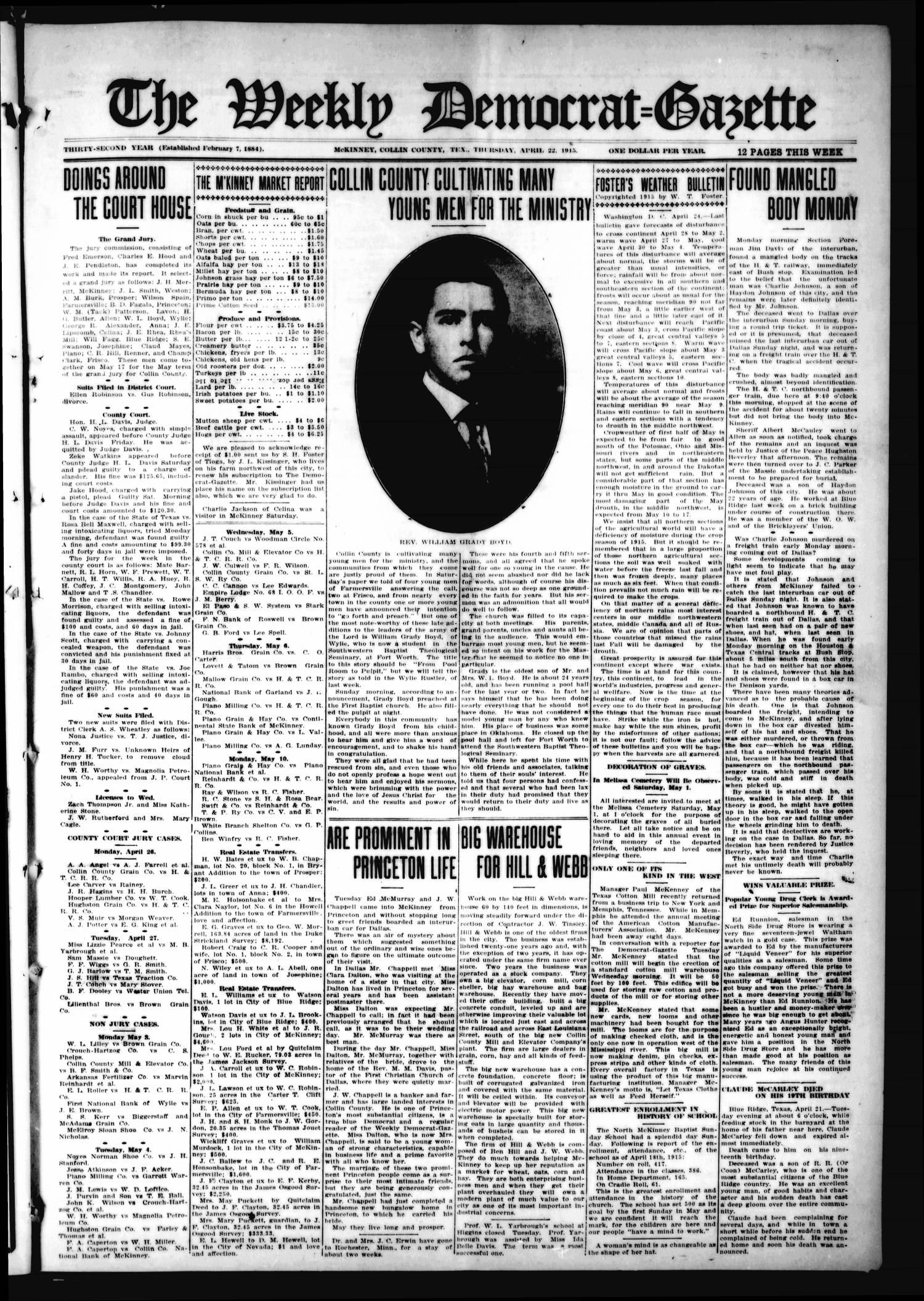 The Weekly Democrat-Gazette (McKinney, Tex.), Vol. 32, Ed. 1 Thursday, April 22, 1915                                                                                                      [Sequence #]: 1 of 12