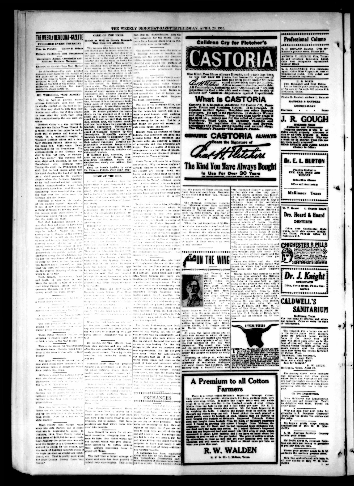 The Weekly Democrat-Gazette (McKinney, Tex.), Vol. 32, Ed. 1 Thursday, April 29, 1915                                                                                                      [Sequence #]: 2 of 16
