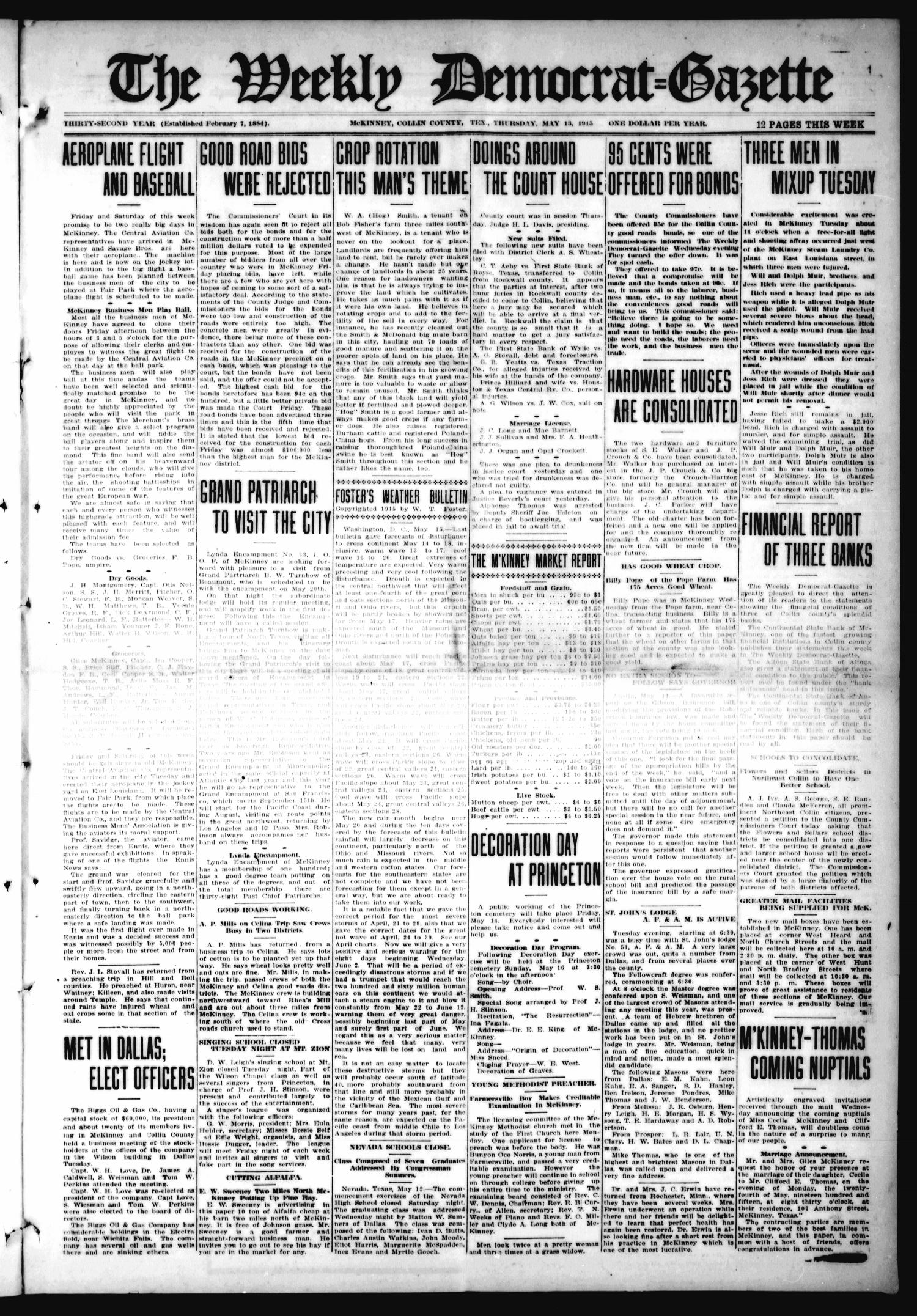 The Weekly Democrat-Gazette (McKinney, Tex.), Vol. 32, Ed. 1 Thursday, May 13, 1915                                                                                                      [Sequence #]: 1 of 12