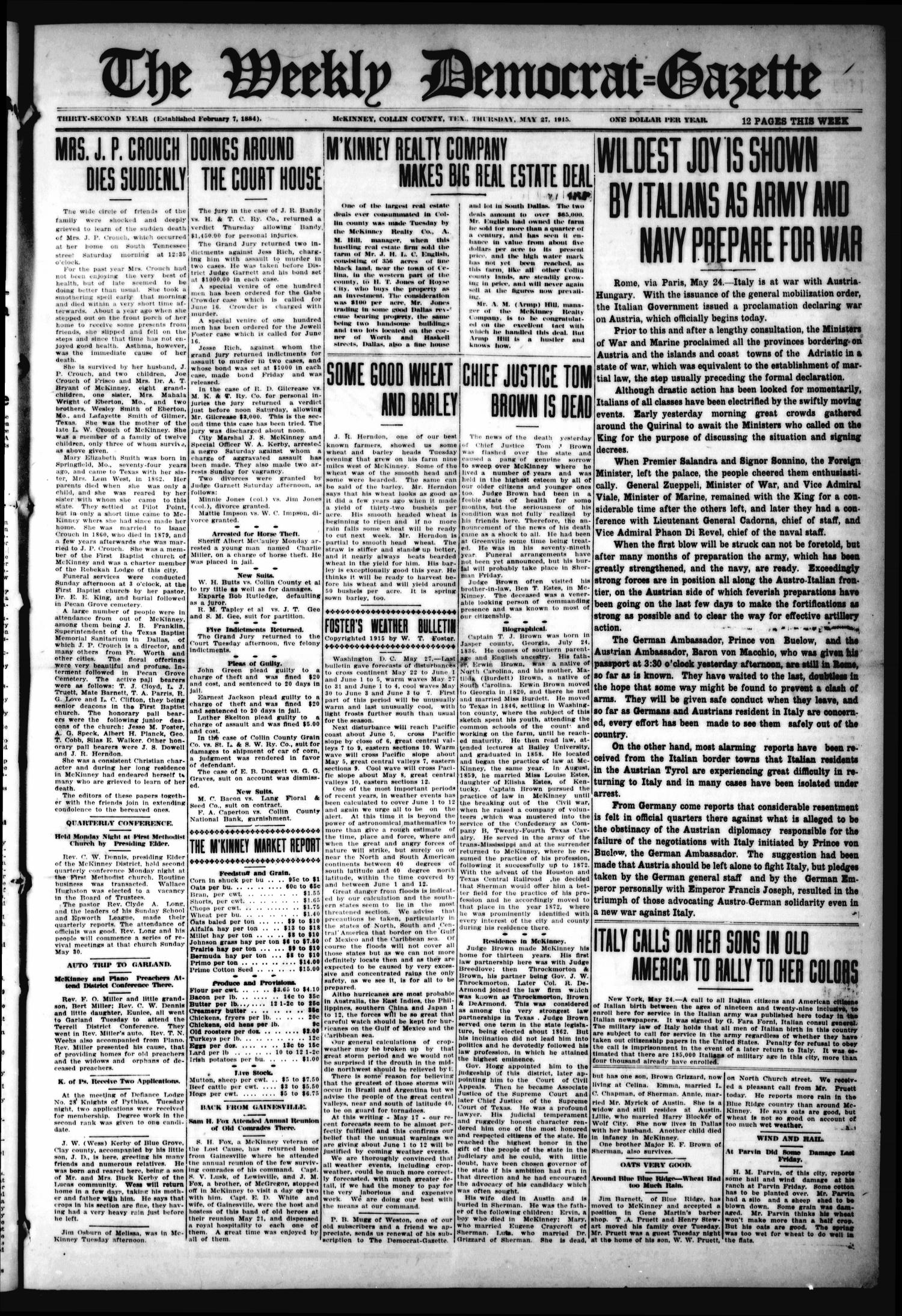 The Weekly Democrat-Gazette (McKinney, Tex.), Vol. 32, Ed. 1 Thursday, May 27, 1915                                                                                                      [Sequence #]: 1 of 12