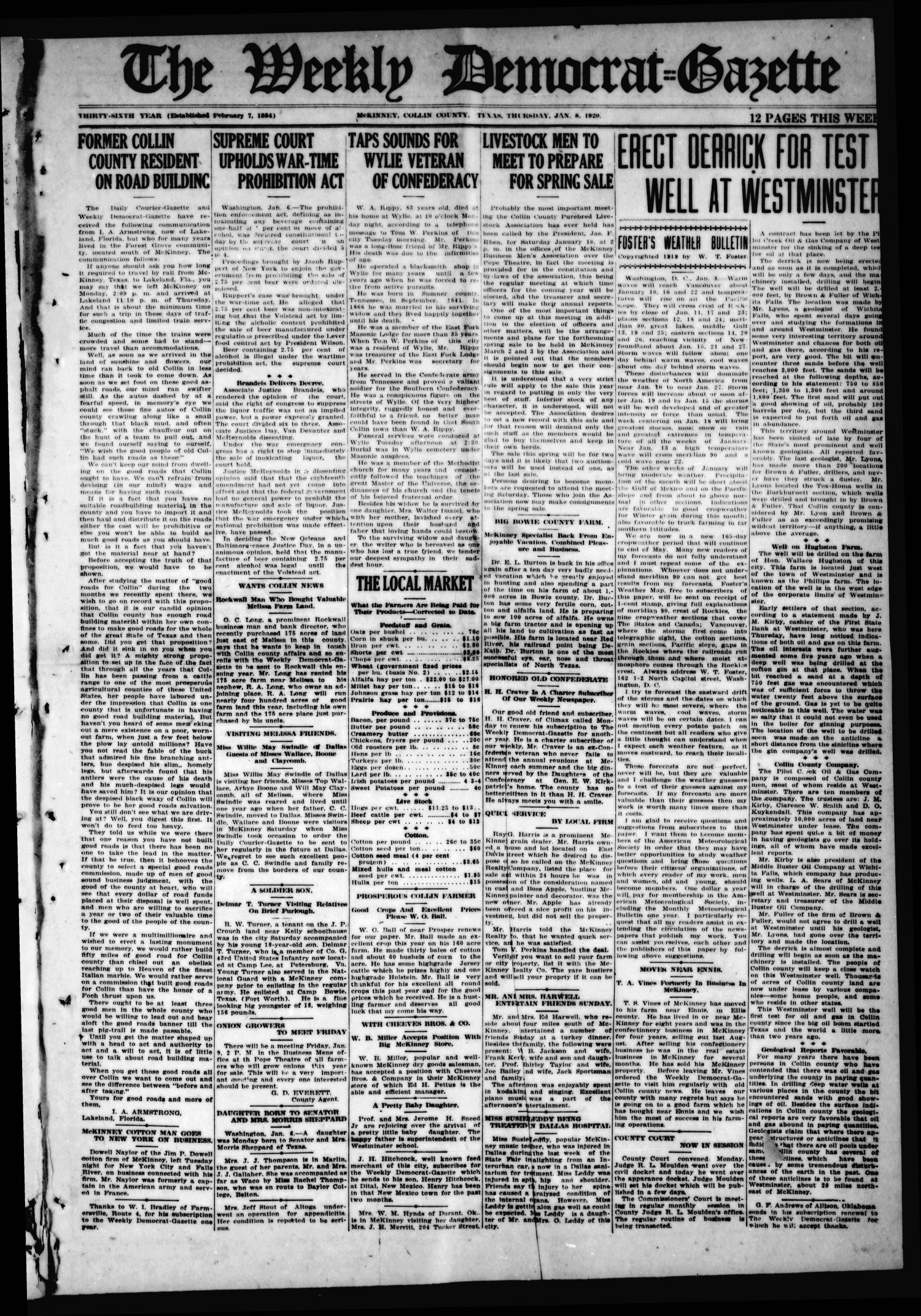 The Weekly Democrat-Gazette (McKinney, Tex.), Vol. 36, Ed. 1 Thursday, January 8, 1920                                                                                                      [Sequence #]: 1 of 12