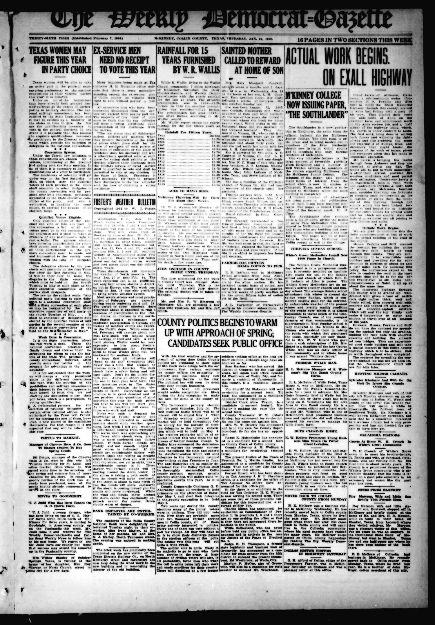 The Weekly Democrat-Gazette (McKinney, Tex.), Vol. 36, Ed. 1 Thursday, January 22, 1920                                                                                                      [Sequence #]: 1 of 16