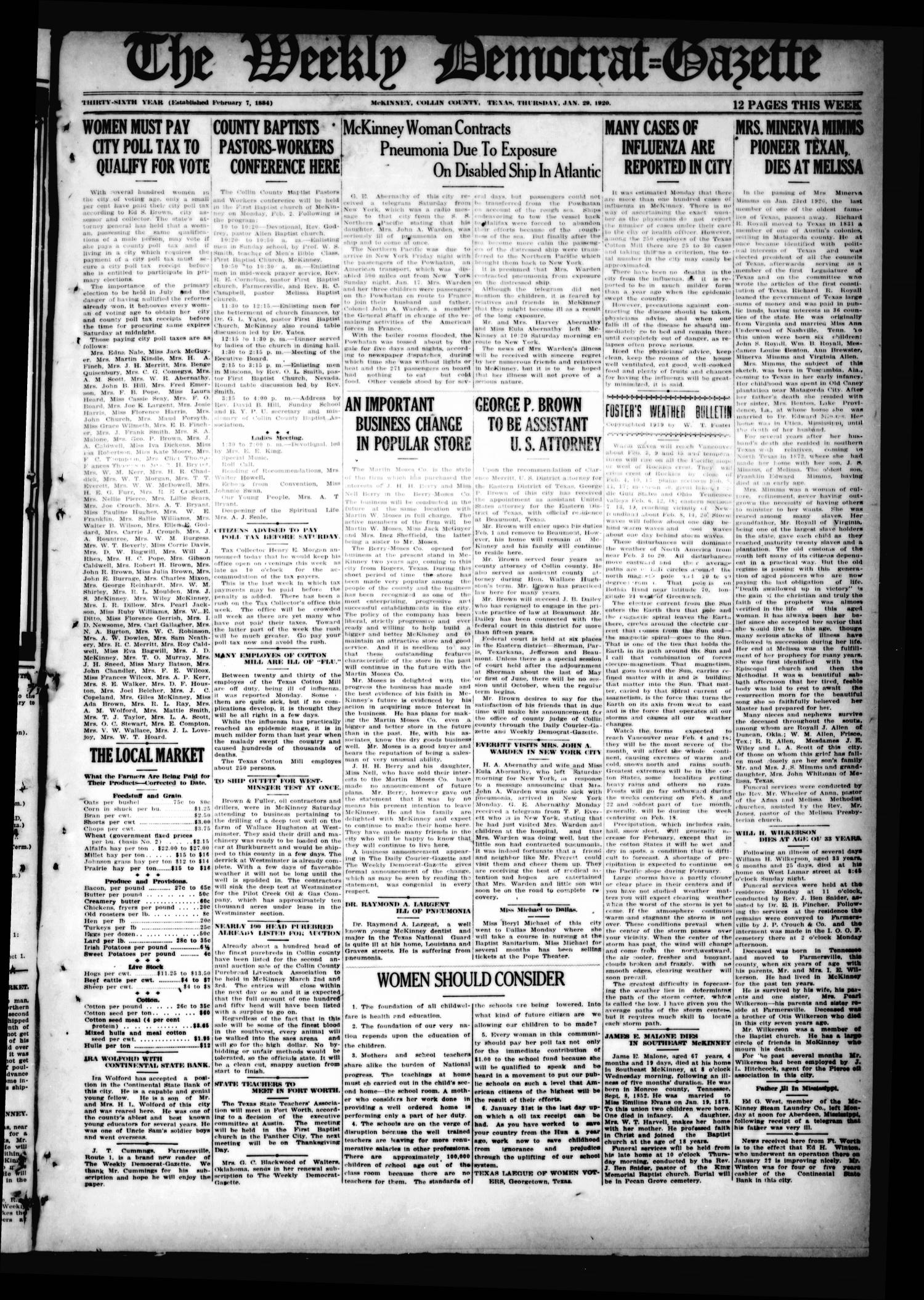 The Weekly Democrat-Gazette (McKinney, Tex.), Vol. 36, Ed. 1 Thursday, January 29, 1920                                                                                                      [Sequence #]: 1 of 8