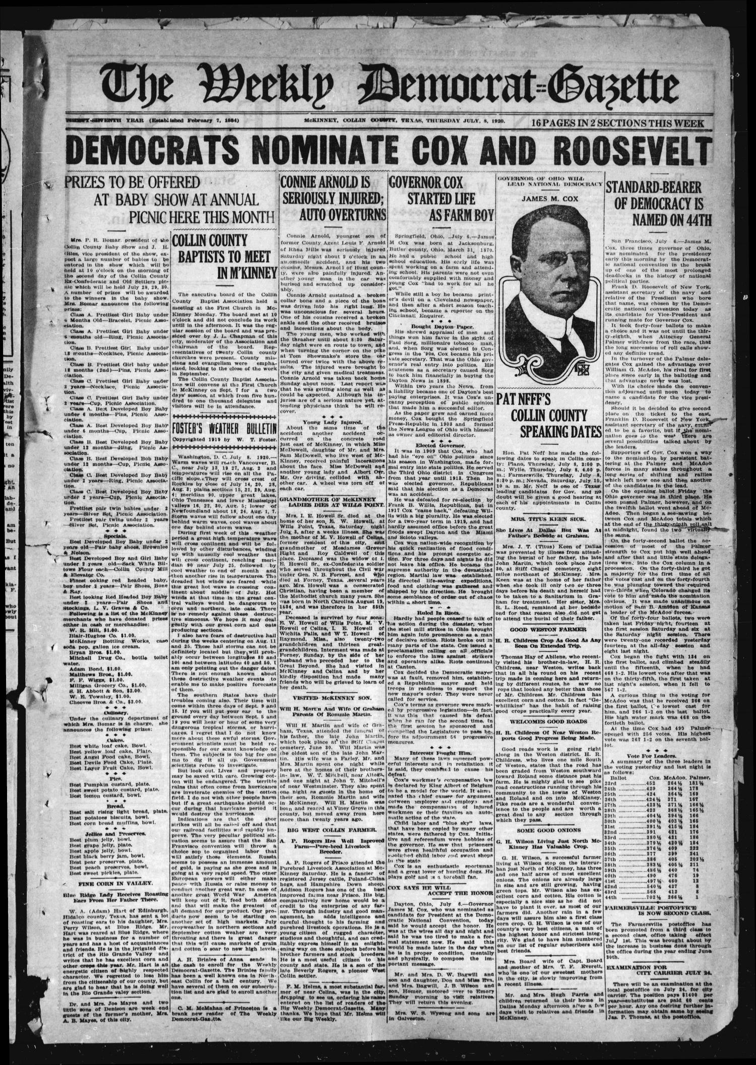 The Weekly Democrat-Gazette (McKinney, Tex.), Vol. 37, Ed. 1 Thursday, July 8, 1920                                                                                                      [Sequence #]: 1 of 16