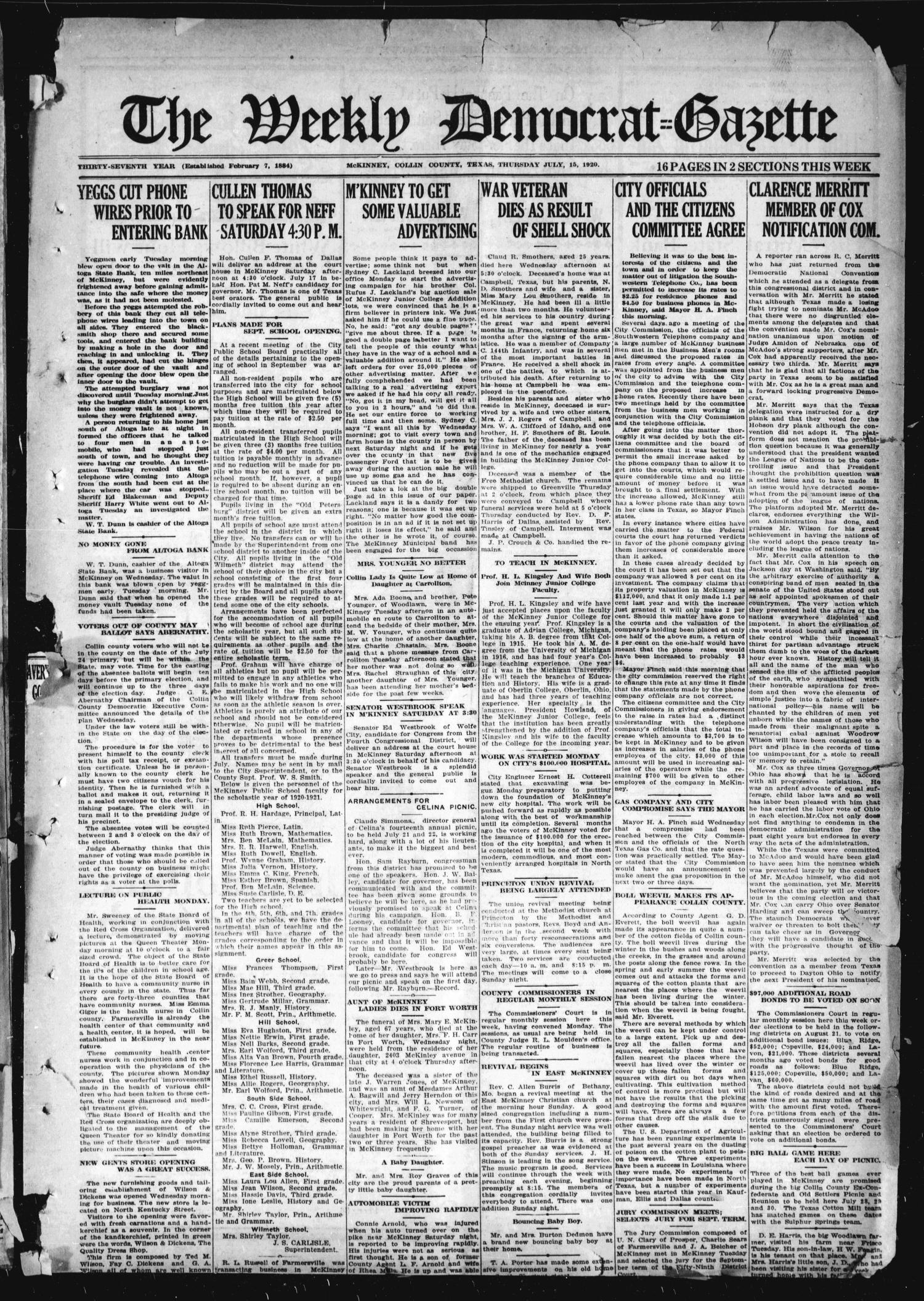 The Weekly Democrat-Gazette (McKinney, Tex.), Vol. 37, Ed. 1 Thursday, July 15, 1920                                                                                                      [Sequence #]: 1 of 14